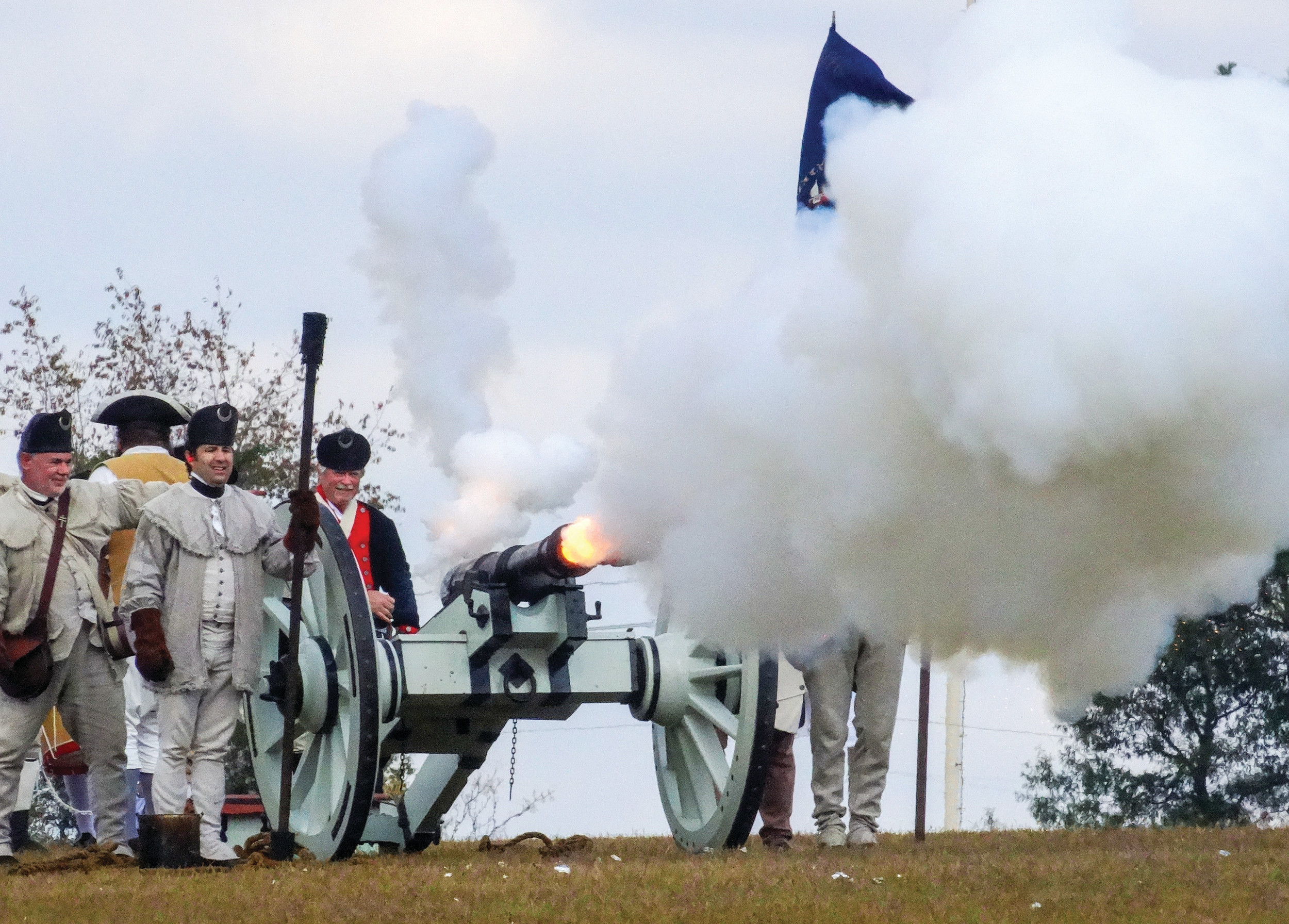 Reenactors fire a cannon at the 46th-annual Revolutionary War Field Days in Camden on Saturday afternoon. The event organized by Historic Camden included colonial games for children, demonstrations of traditional crafts, plenty of food to try and more.