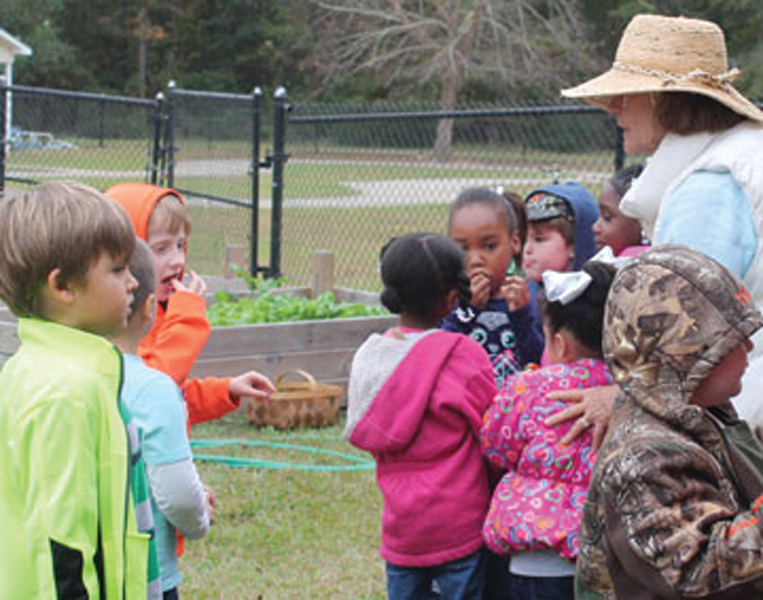 Volunteer and Master Gardener Marie Land watches as students bite into a few store-bought strawberries before the youngsters planted strawberry plants.