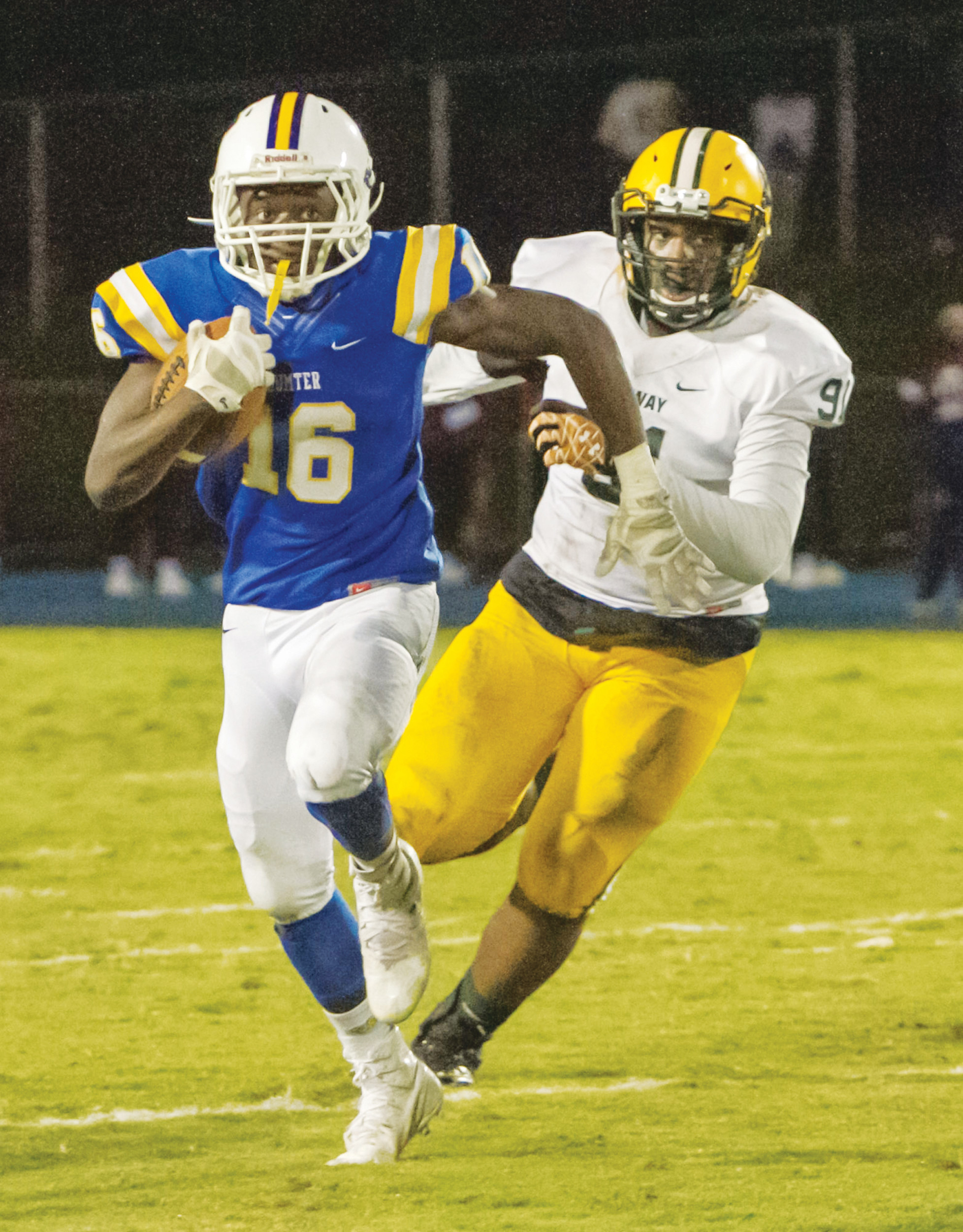 Sumter running back Jonathan Henry (16) and the rest of the Gamecocks travel to Summerville today to take on the Green Wave in the second round of the 5A state playoffs beginning at 7:30 p.m.