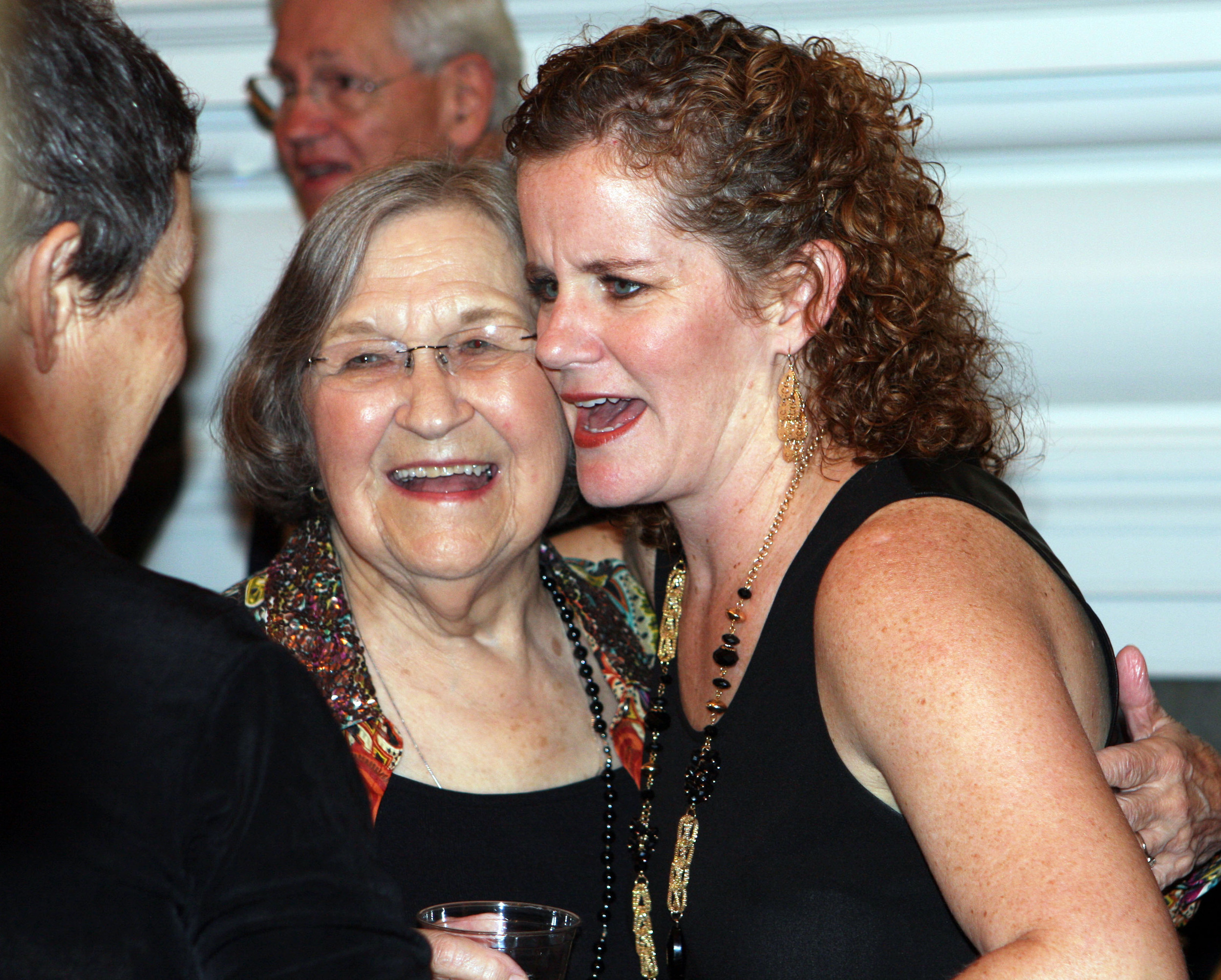 "Damron is shown with her friend Kipper Ackerman, whom she directed in several plays, including the musical ""Oklahoma."" The occasion was a 2014 production that saluted Damron for her work in the arts, as well as the community at large."