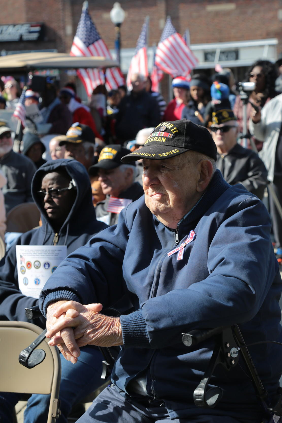 A World War II veteran watches the Sumter Veterans Day ceremony Saturday.
