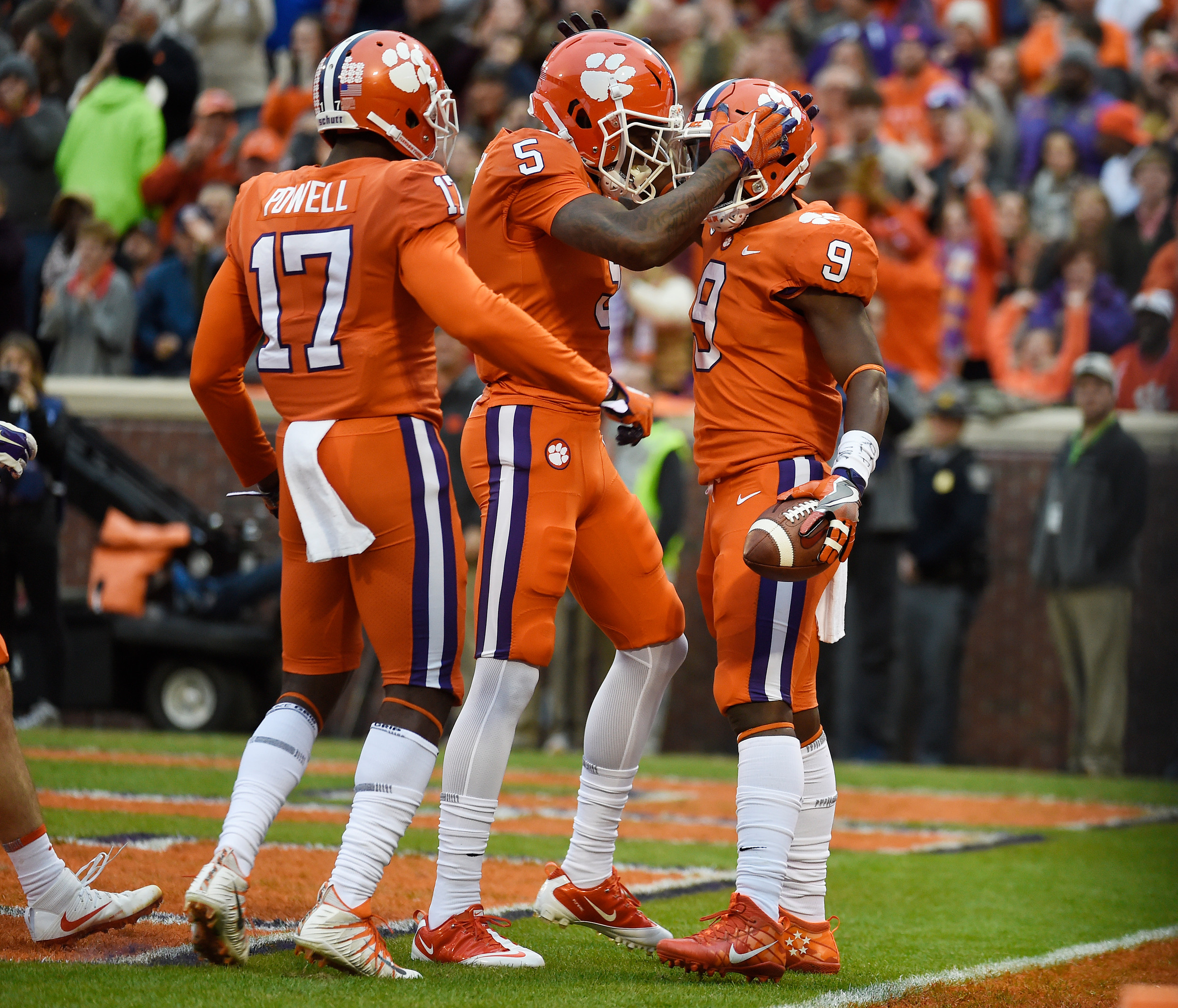 THE ASSOCIATED PRESSClemson running back Travis Etienne (9) celebrates his touchdown against Florida State with teammates Tee Higgins (5) and Cornell Powell (17) during the Tigers' 31-14 victory on Saturday in Clemson. The Tigers are still in the hunt for a berth in the College Football Playoff despite the loss of several key performers off of last season's national championship squad.