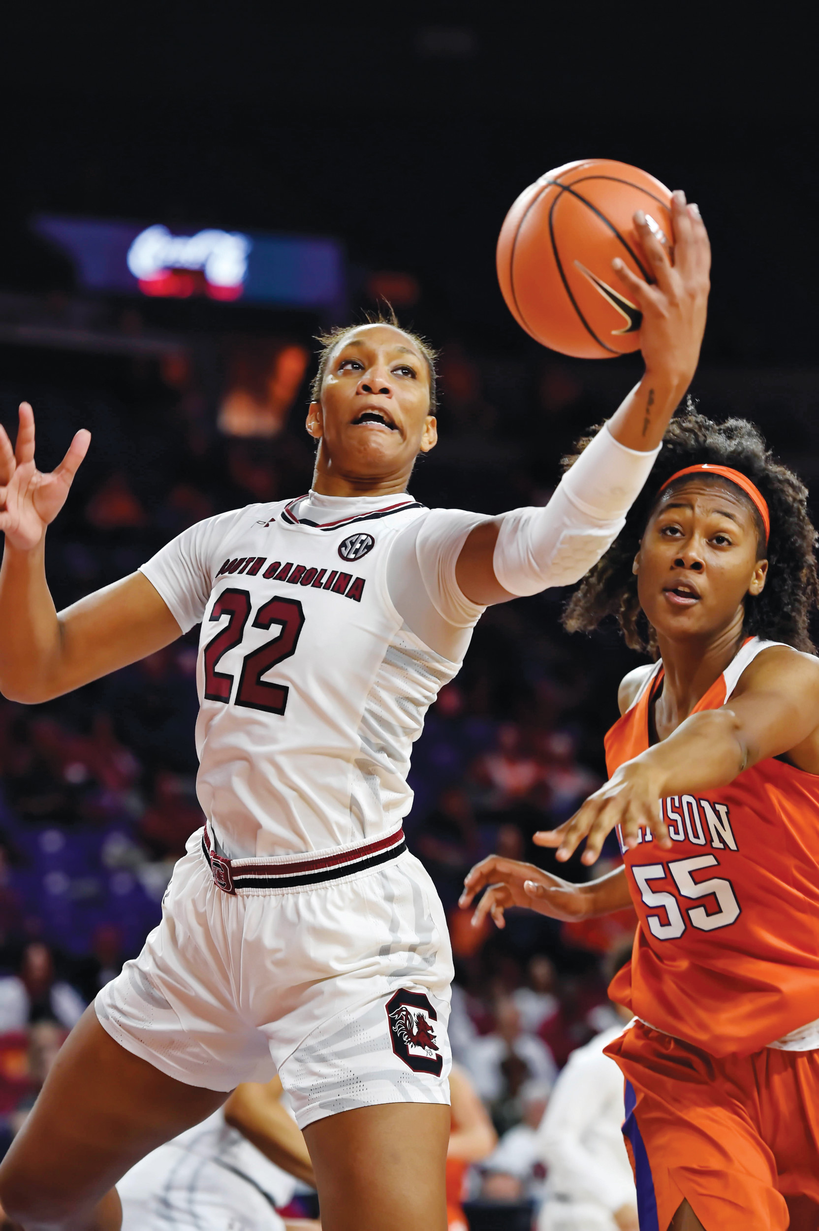 South Carolina's A'ja Wilson (22) grabs a rebound in front of Clemson's Tylar Bennett during the first half of the Gamecocks' 66-36 victory on Thursday in Clemson.