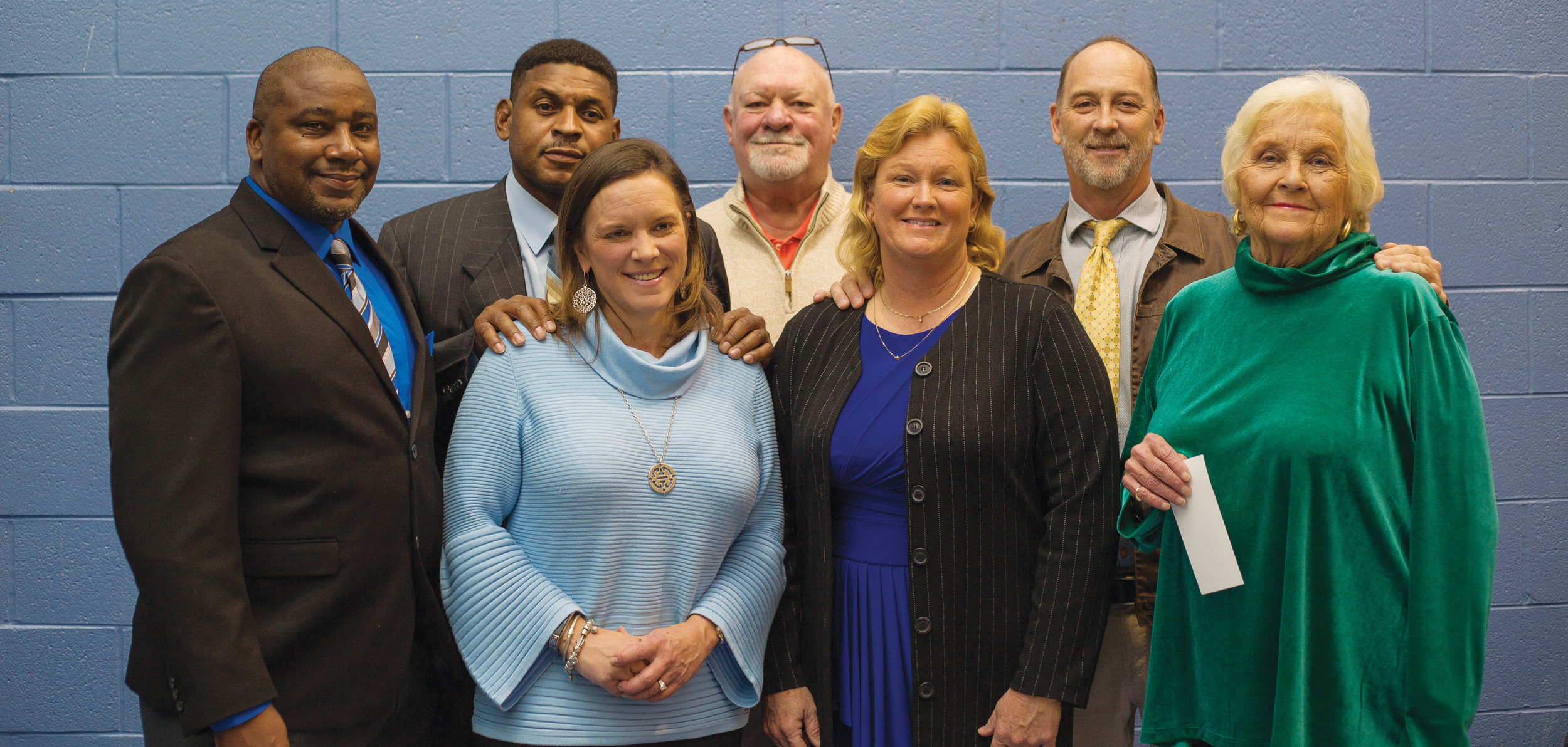 "The Sumter Sports Hall of Fame induction ceremony was held on Thursday at the Salvation Army Boys & Girls Club of Sumter. Members of the  2017 class are, first row, left to right: Garon Jackson, Stacy Martin, Lisa Ard and Connie Ballard. Second row: Travis Yates, C.P. Hodge Jr., representing his late father, Clifford ""Buddy"" Hodge, and Brooks Shumake."