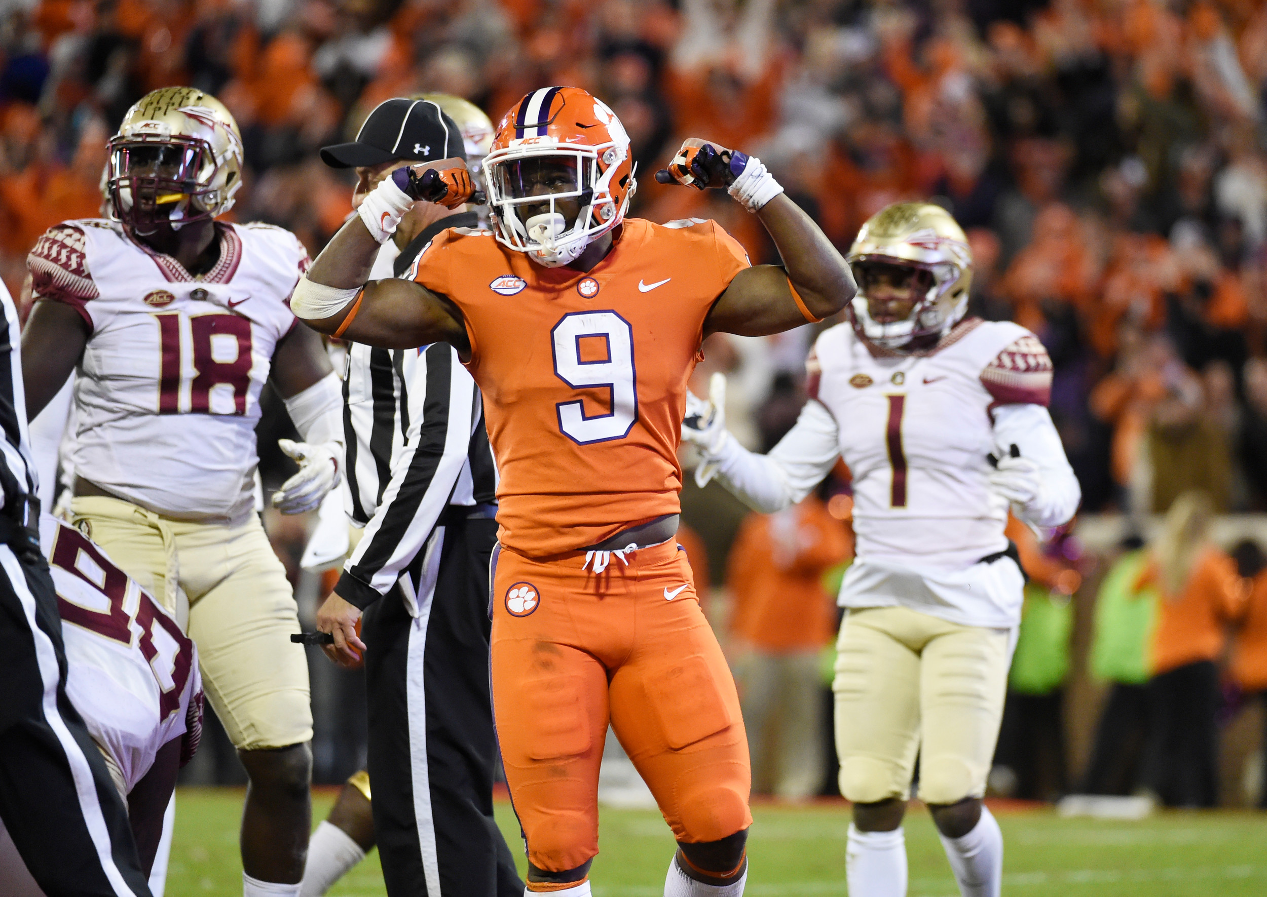 Clemson running back Travis Etienne (9) and the rest of the Tigers hope to celebrate like this today when they play host to The Citadel.