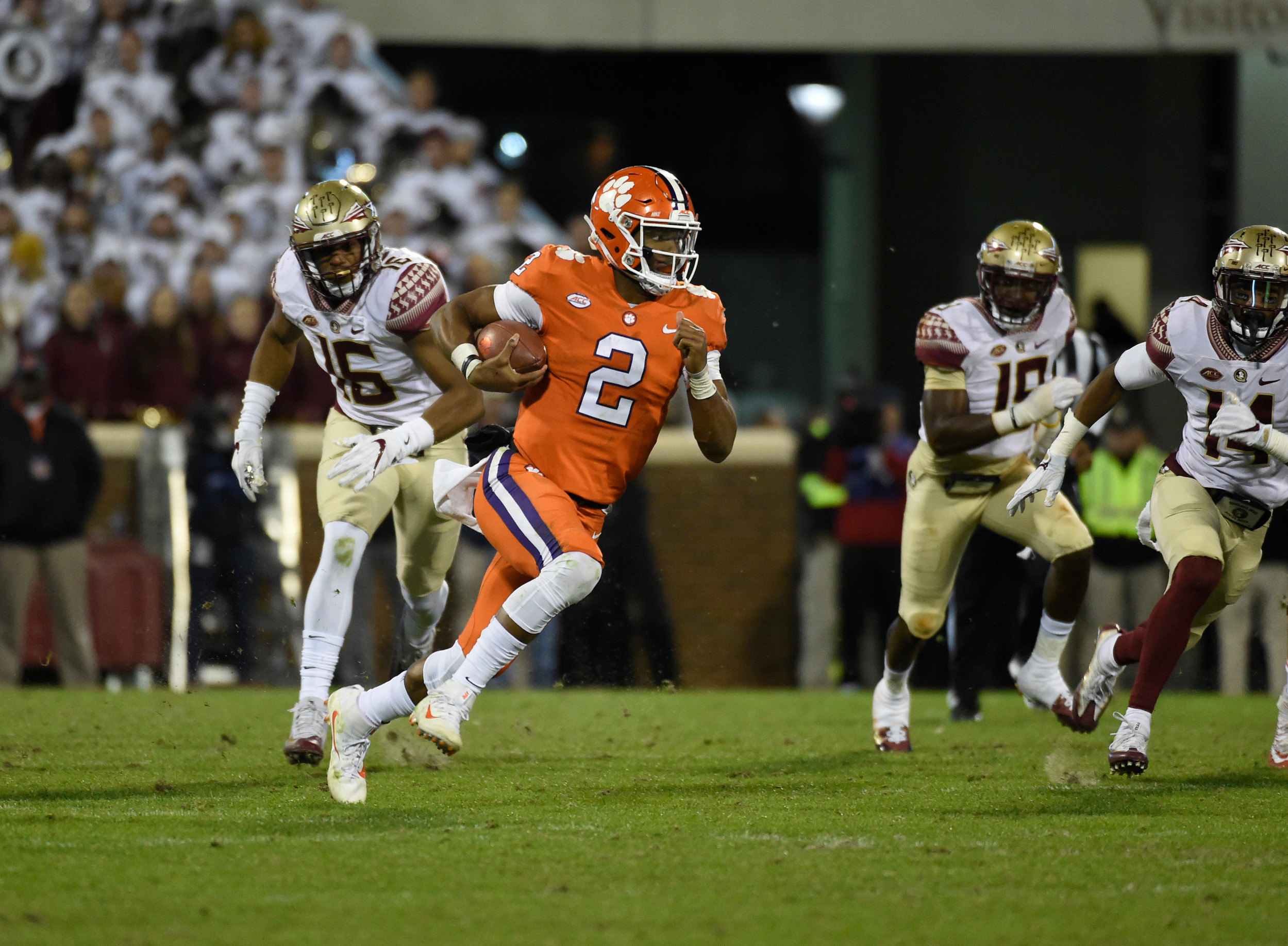 The Associated PressClemson quarterback Kelly Bryant (2) will be looking for more opportunities like this when the Tigers travel to Columbia on Saturday to face rival South Carolina at 7:30 p.m. Clemson needs a win to keep alive its hopes of defending its national title.
