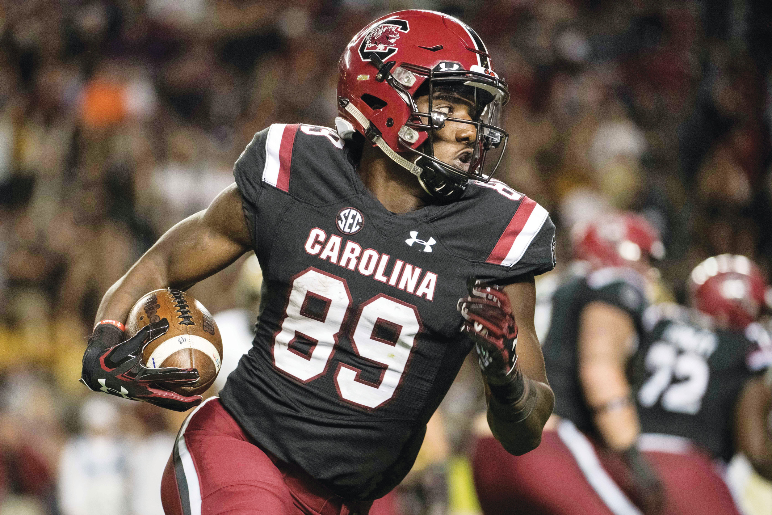 South Carolina wide receiver Bryan Edwards (89) and the rest of the Gamecocks are looking to make some amends for last season's 56-7 drubbing at the hands of Clemson when the teams meet on Saturday in Columbia.
