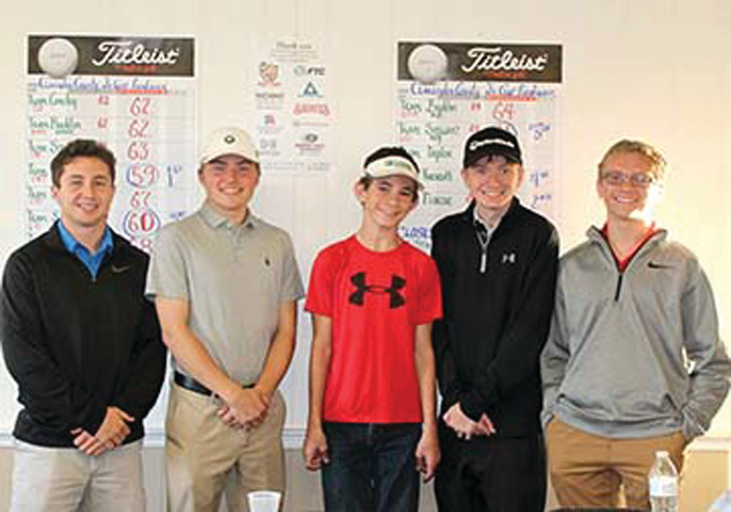 The Clarendon County Youth Golf Program produces winners. From left are Jacob Richburg, 17; Robert Dykes, 17; Stephen Ard, 13; Hunter White, 17; and Brice Laney, 17. Richburg, Dykes and White finished in first place at Saturday's Clarendon County Youth Golf Tournament. Ard's team finished in third place, and Laney's team finished out of the top five.