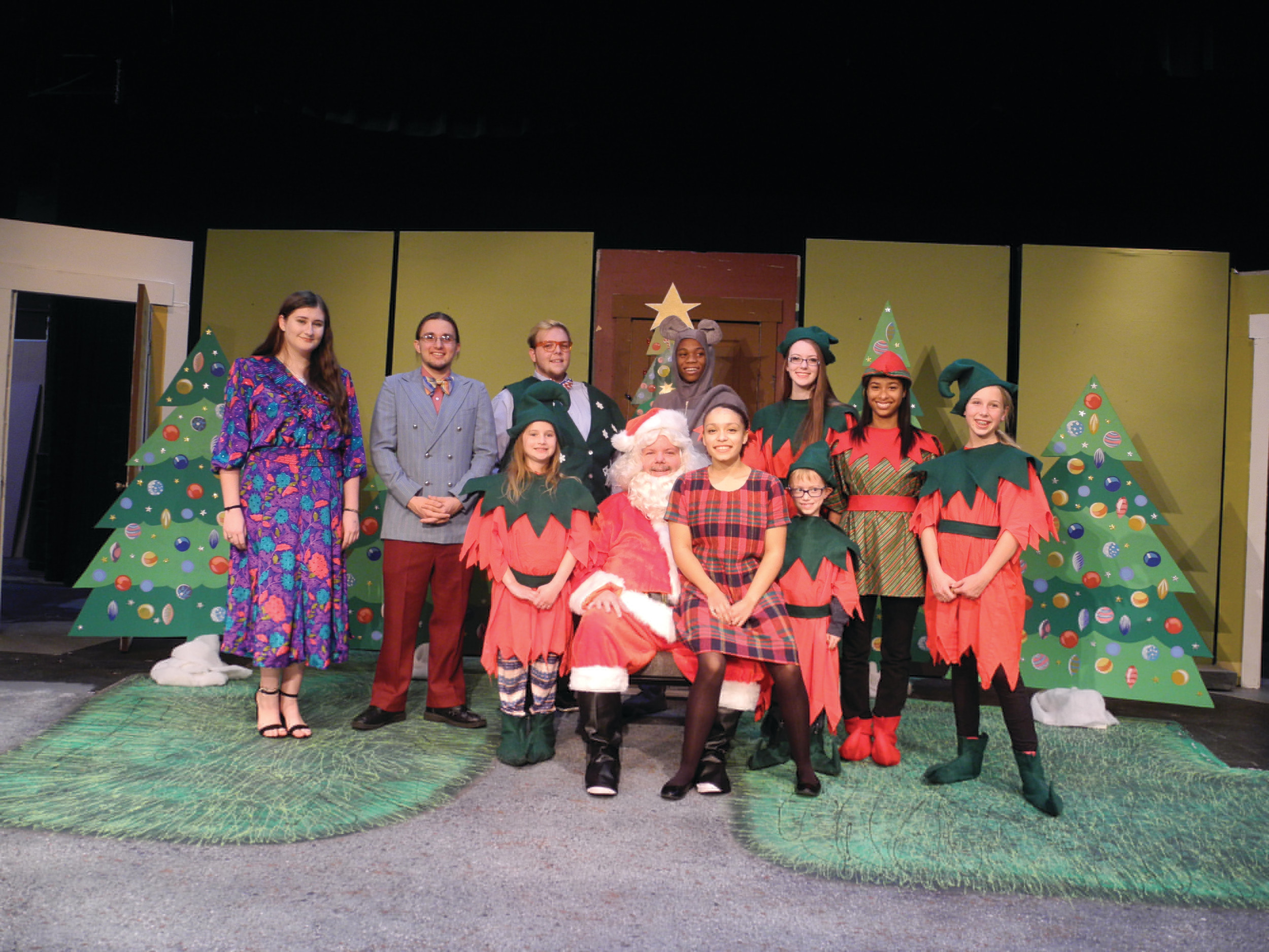 "IVY MOORE / SPECIAL TO THE SUMTER ITEM  The cast of Sumter Little Theatre's holiday offering, ""'Twas the Night Before Christmas,"" takes a break from a recent rehearsal for a group photo. From left, back row are Lauren Graves, Kevin Cooper, Colby Rearden, Carlos Waters, Lauren Carneal, Taylor Lenoir and Sylvia Hunt. Front row, from left are Shelly Greco, John Michael Osteen, Jayde Torres and Nate Martin. ""'Twas the Night Before Christmas"" opens Thursday at Sumter Little Theatre."