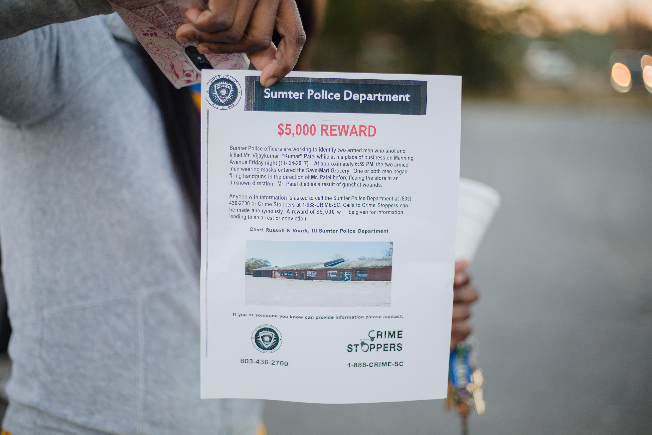 Handouts from the Sumter Police Department offering a reward for information.