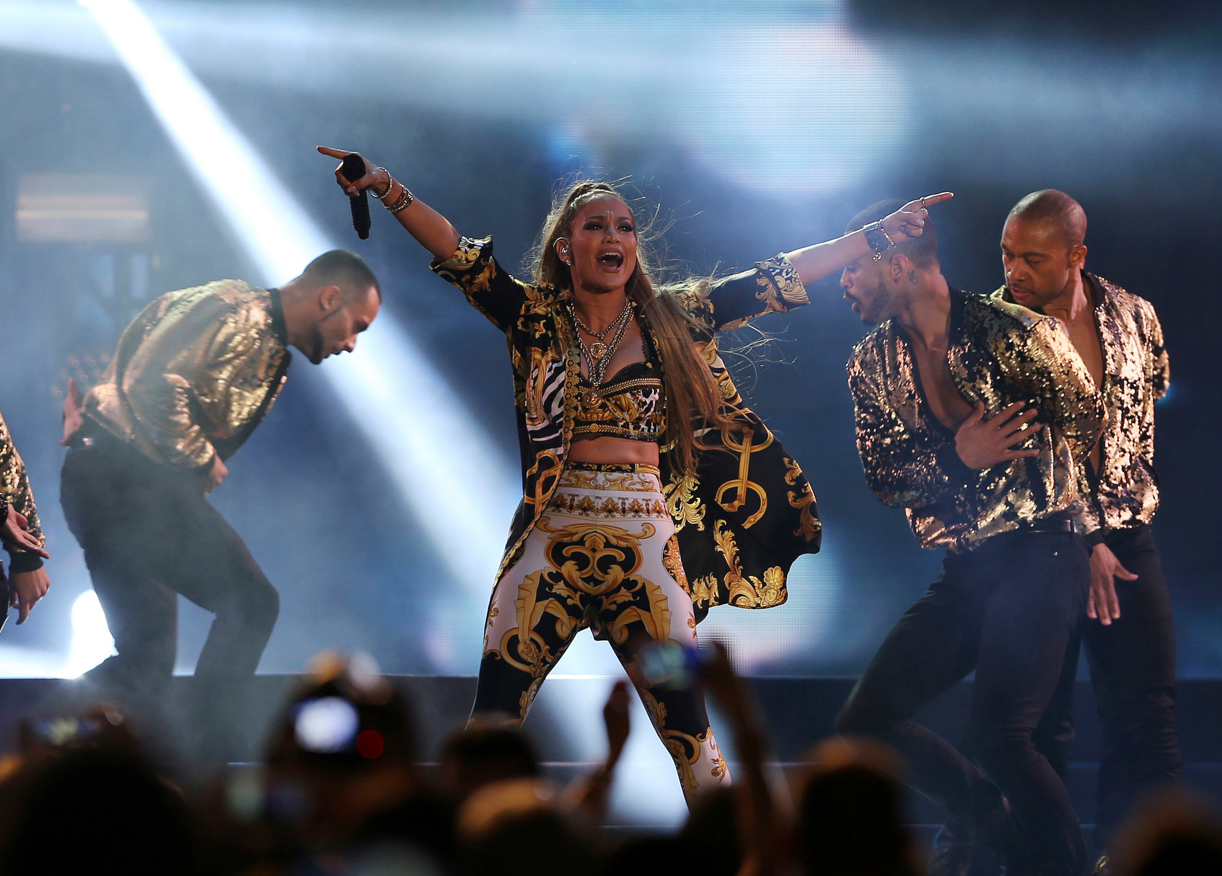 Jennifer Lopez performs at the Air Show Gala in Dubai, United Arab Emirates, on Nov. 15, 2017.