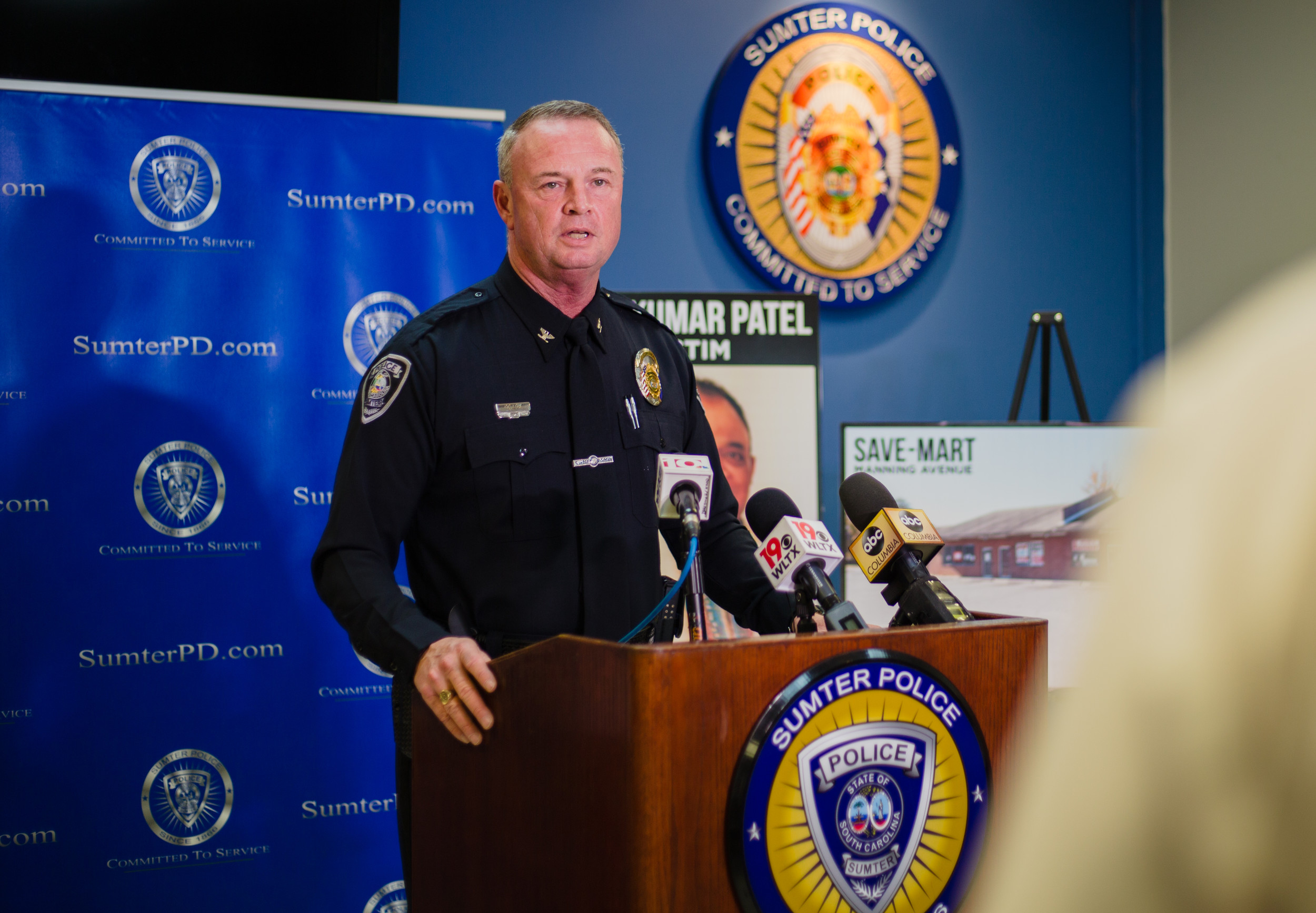 Sumter Police Chief Russell F. Roark III updates media on Thursday of the case involving the murder and attempted armed robbery that took the life of Vijaykumar Patel on Nov. 24.