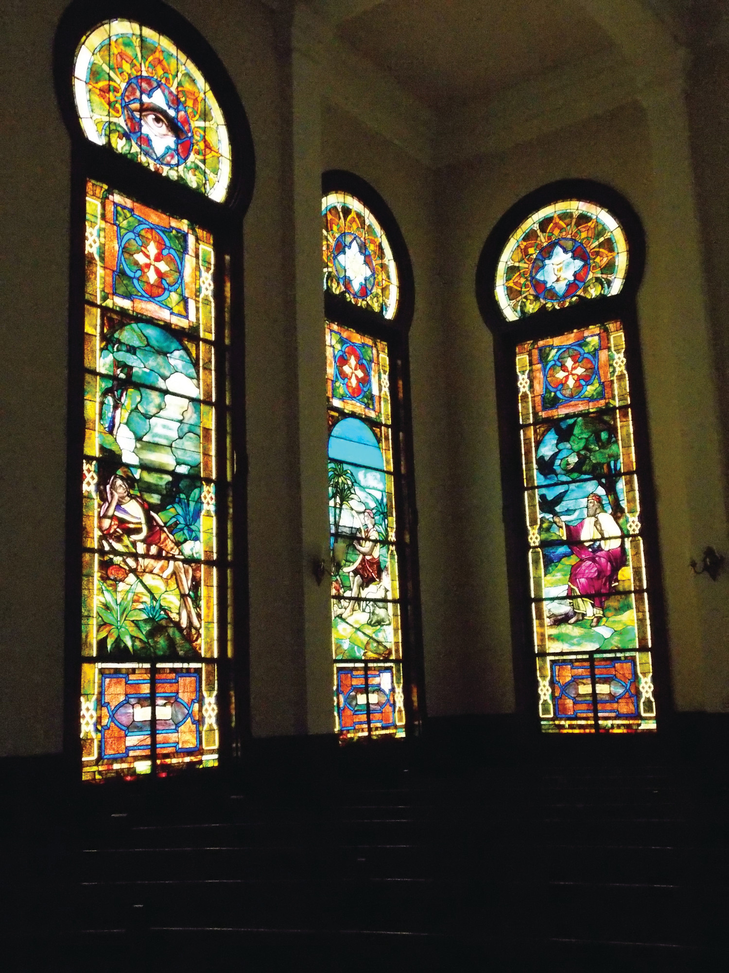 This interior view shows some of the temple windows made of drapery glass, a special technique which shows 3-D effects. Temple Sinai is on Church Street and was built in 1913.