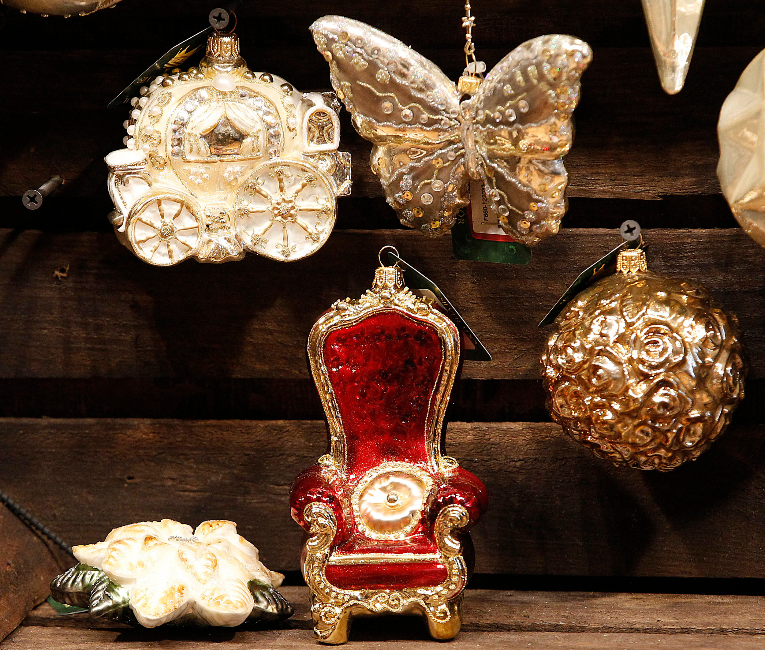 designs of blown glass christmas tree decorations are on display at the silverado manufacturer in