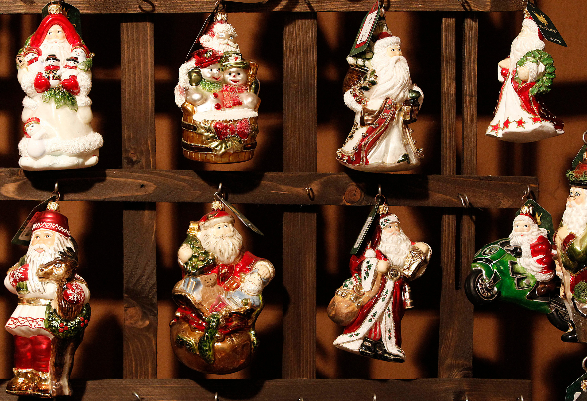 Blown-glass Christmas tree decorations for the U.S. market are on display at the Silverado