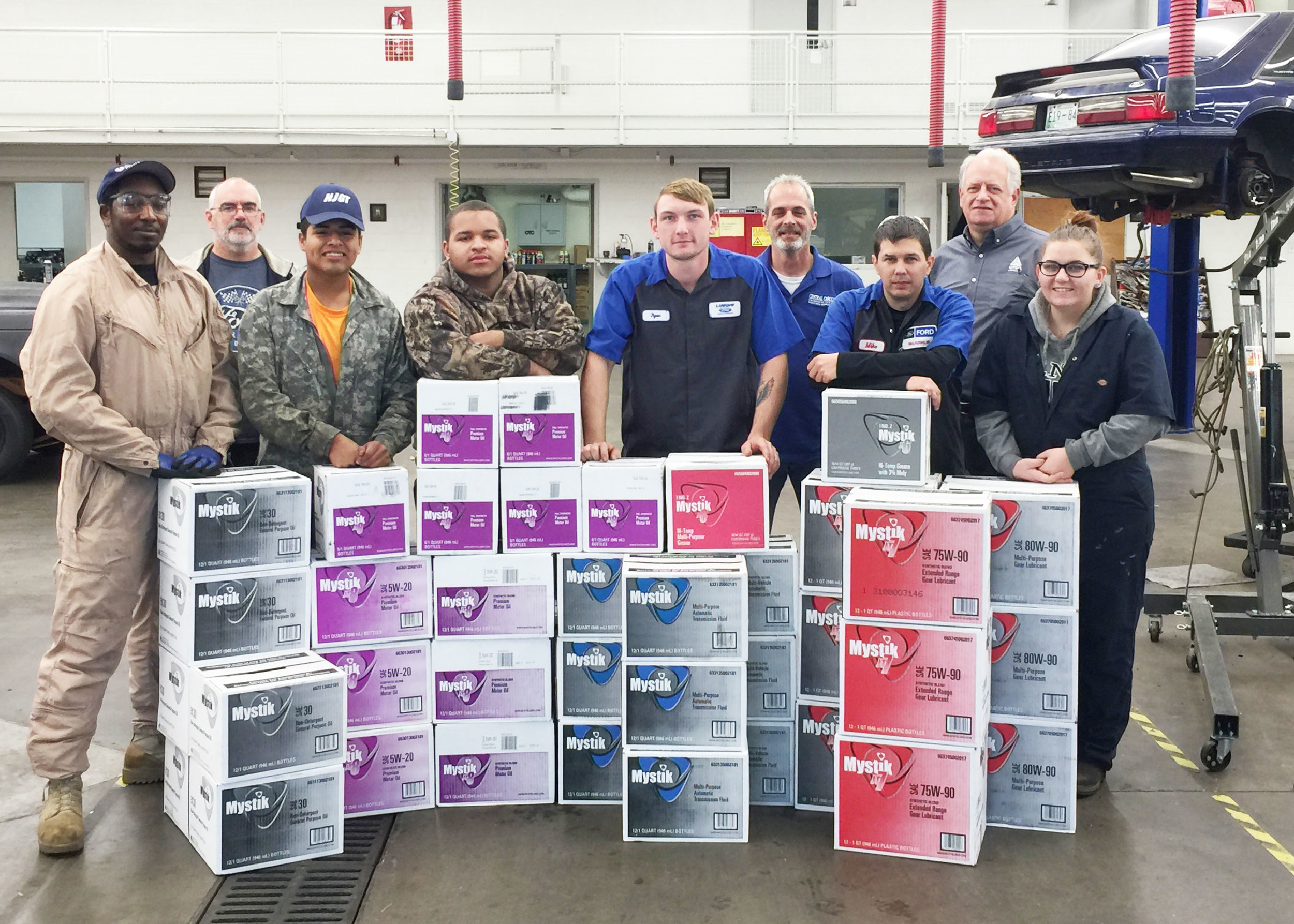 Brewer-Hendley Oil Co. of Sumter and Mystik Lubricants recently gave a year's worth of lubricants to Central Carolina Technical College for use in its Automotive Technology program.