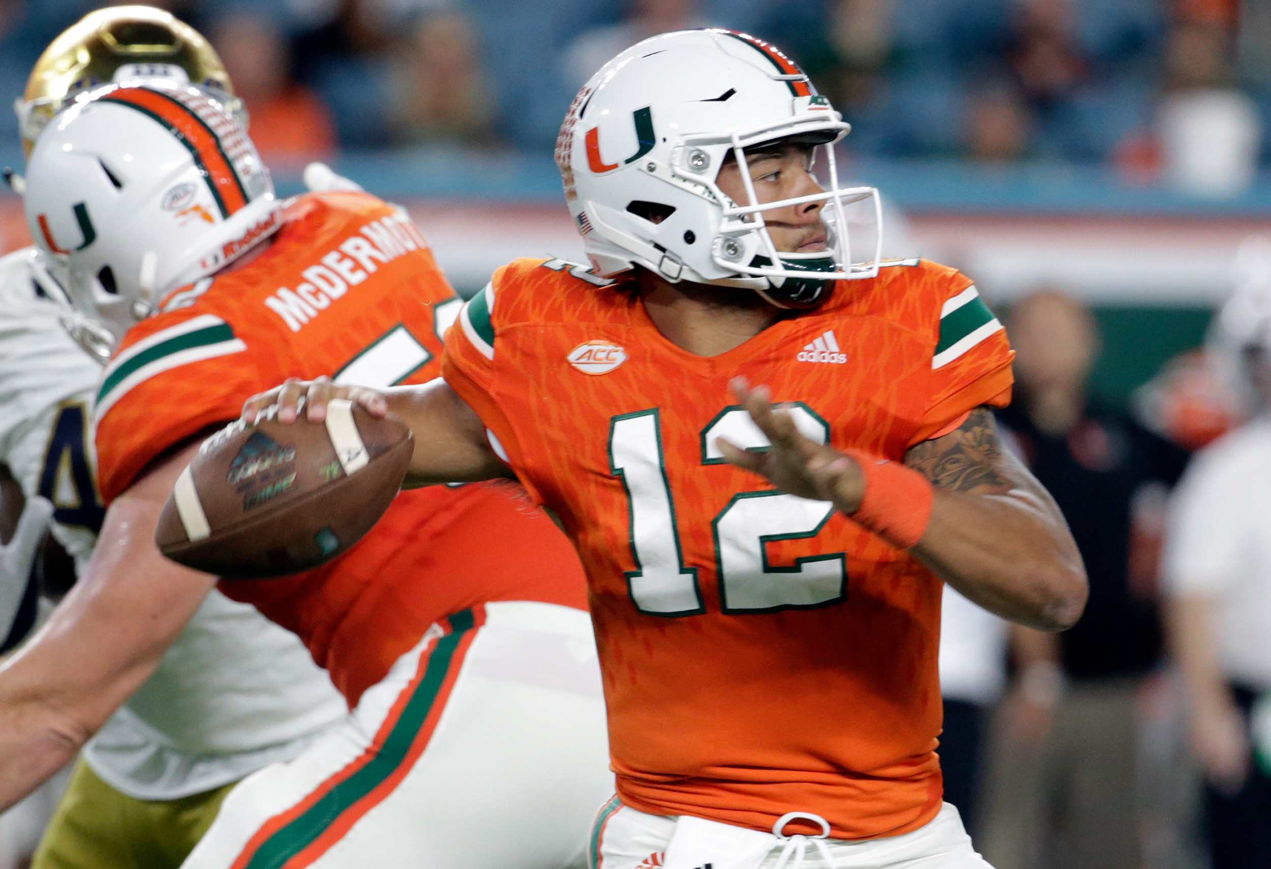 Miami quarterback Malik Rosier (12) has led Miami to the ACC championship game in his first year as a starter. The Hurricanes face Clemson today in Charlotte for the title.