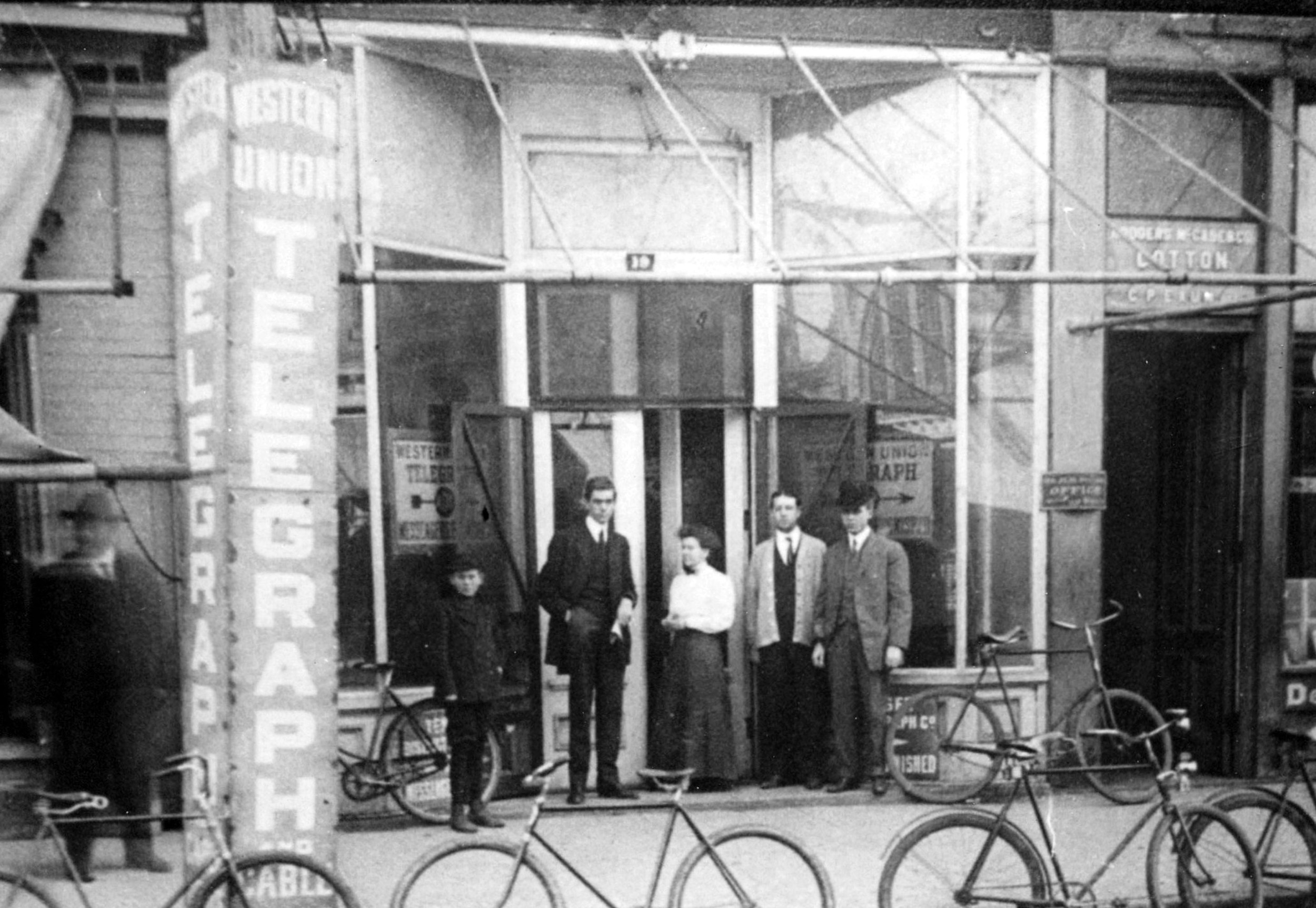 S.W. Rumph, Scott's father, stands in front  of the Western Union on Main Street in 1911. Rumph was the manager of the store.