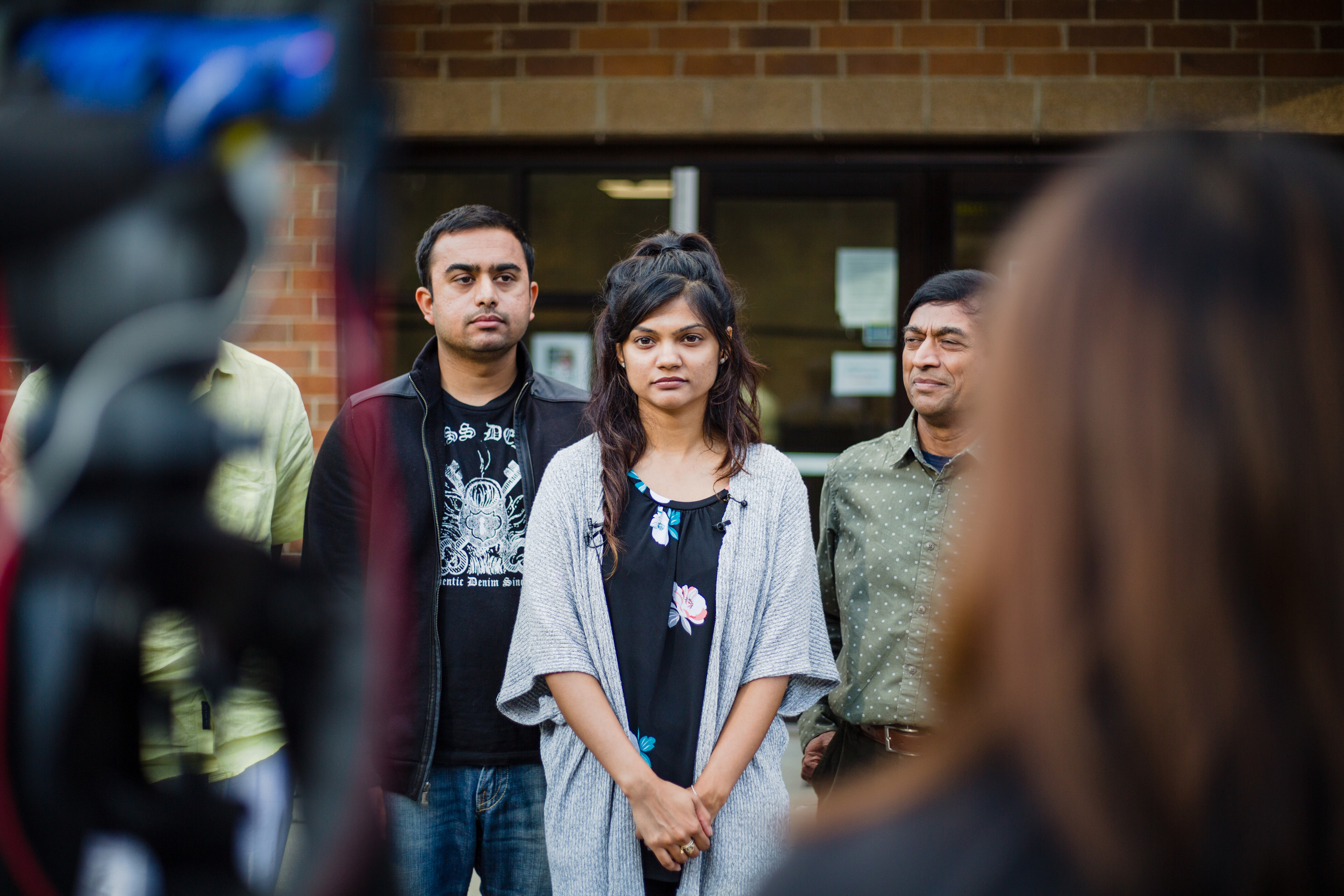 Patel's family speaks with media following the hearing.
