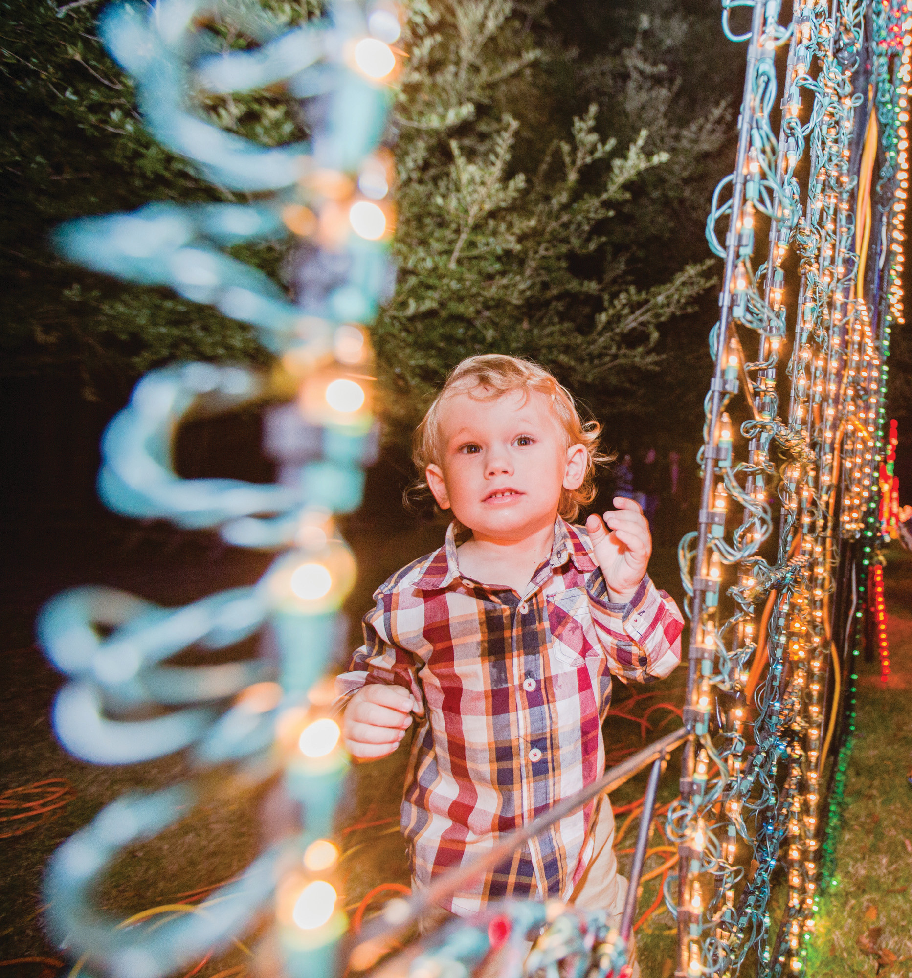 Davis Timmons checks out a house made of lights at the 30th annual Fantasy of Lights on Friday.