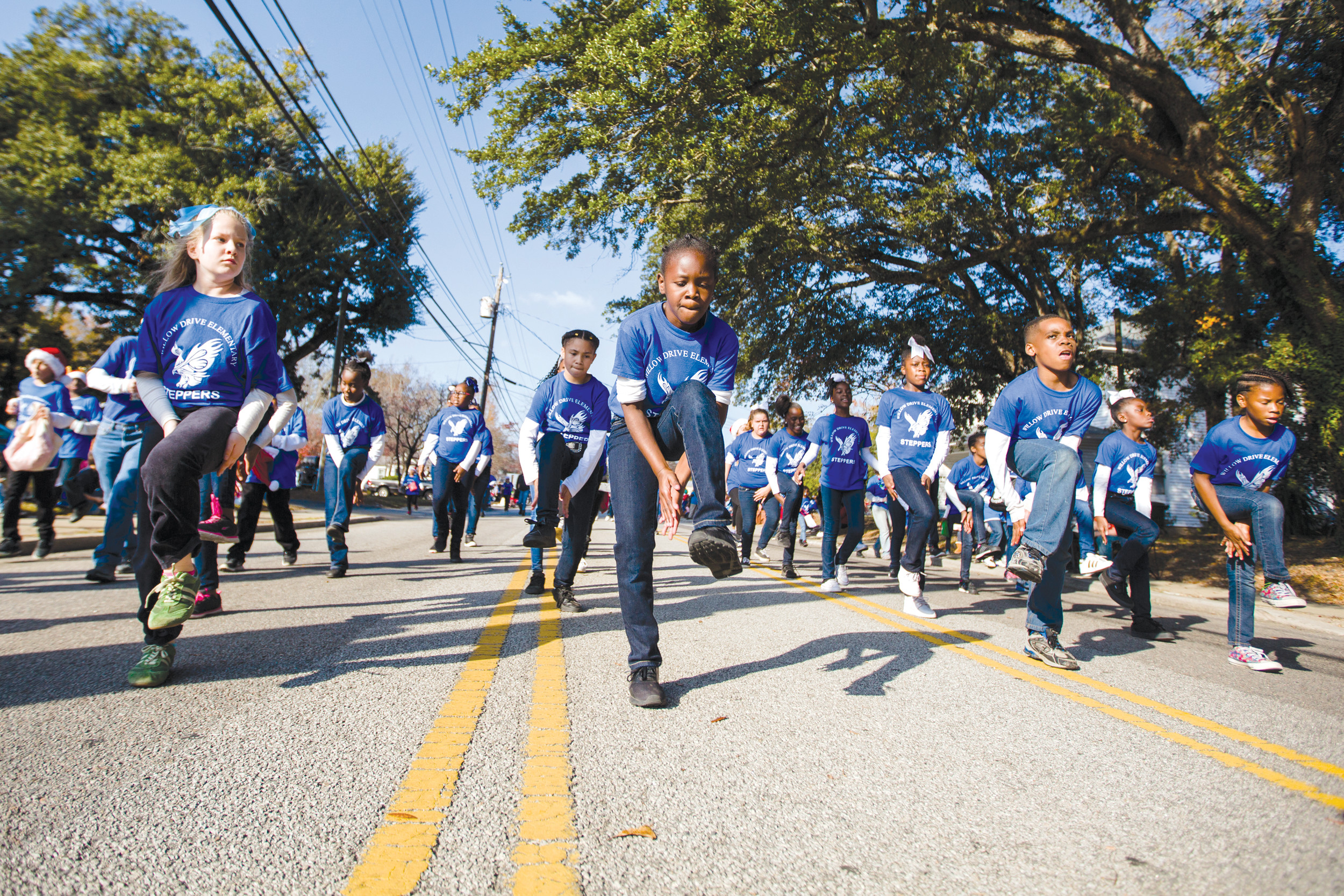 The Willow Drive Elementary Step Team performs on Main Street during the annual Sumter Christmas Parade.