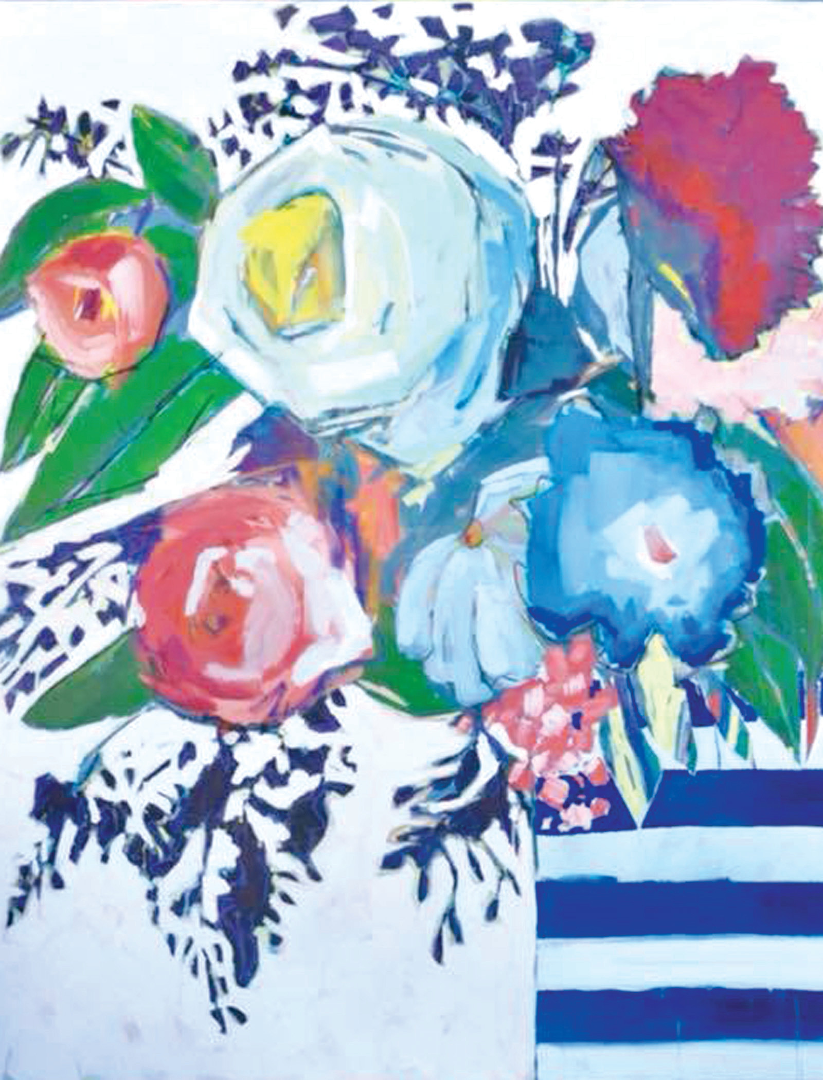 Amanda Cox's painting of flowers is shown.