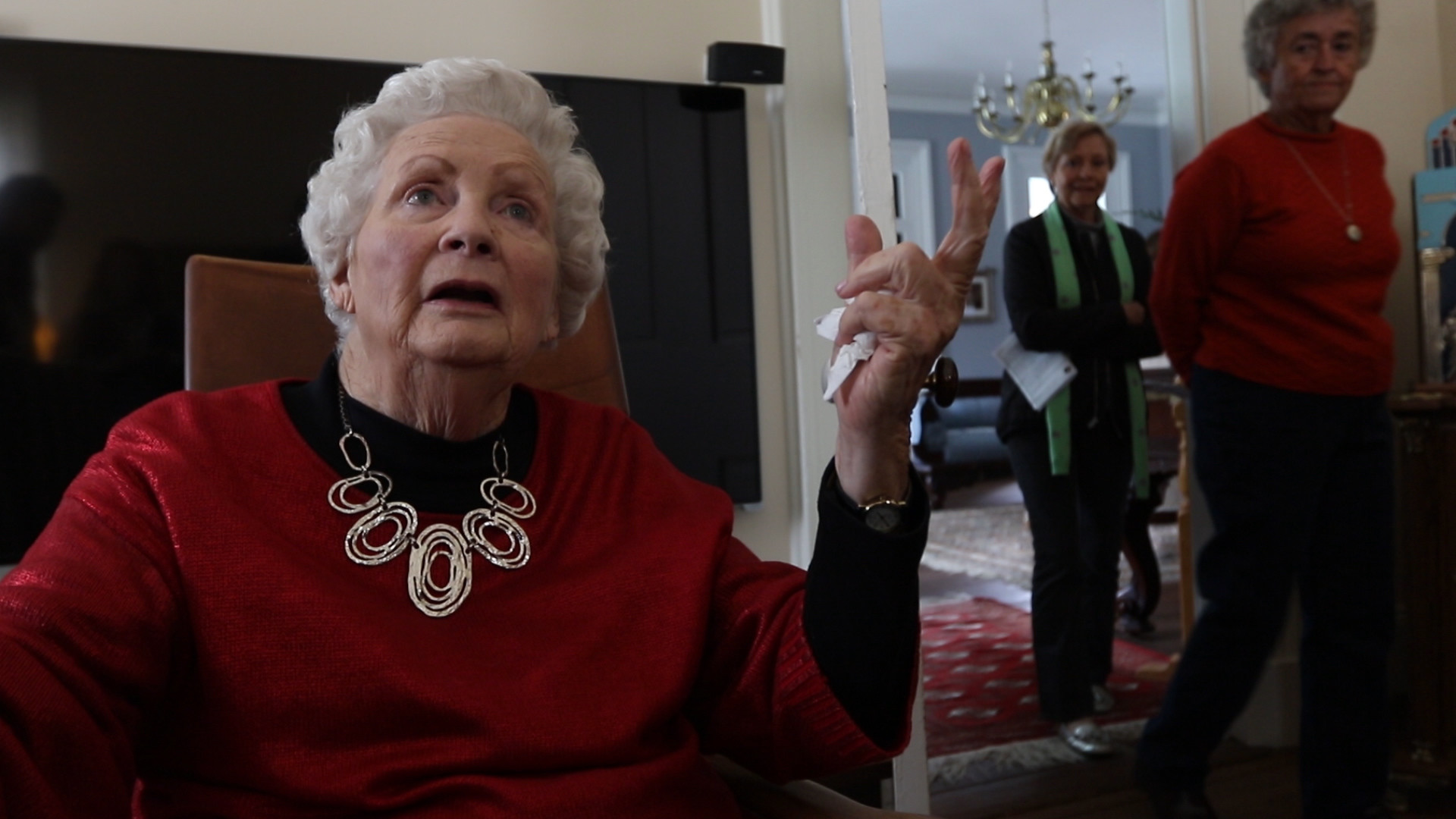 Toots Harper, former resident of The Ruins, described during Christmas at The Ruins seeing lights from Shaw Air Force Base announcing the end of World War II as she sat on the back porch of the home in Stateburg in 1945.