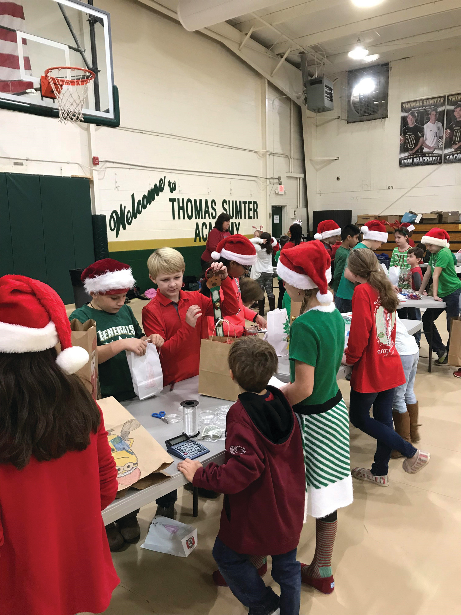 "Thomas Sumter Academy held a Christmas Shop with the money going toward Salvation Army ""Angel Tree"" gifts for needy families."