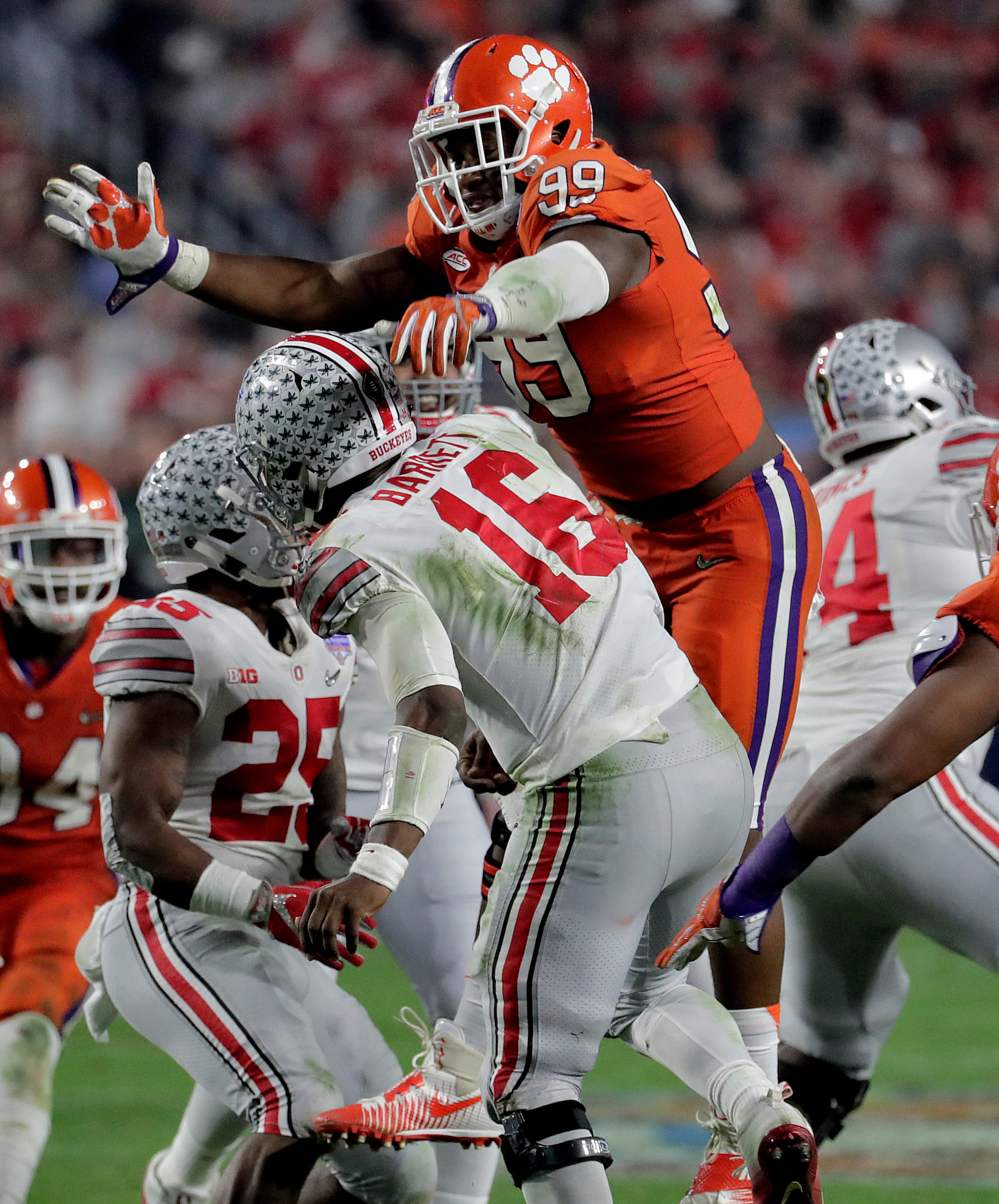 THE ASSOCIATED PRESSClemson defensive end Clelin Ferrell (99) was named to the first team of The Associated Press All-America football team released on Monday. Ferrell was one of six Tigers selected to the three teams