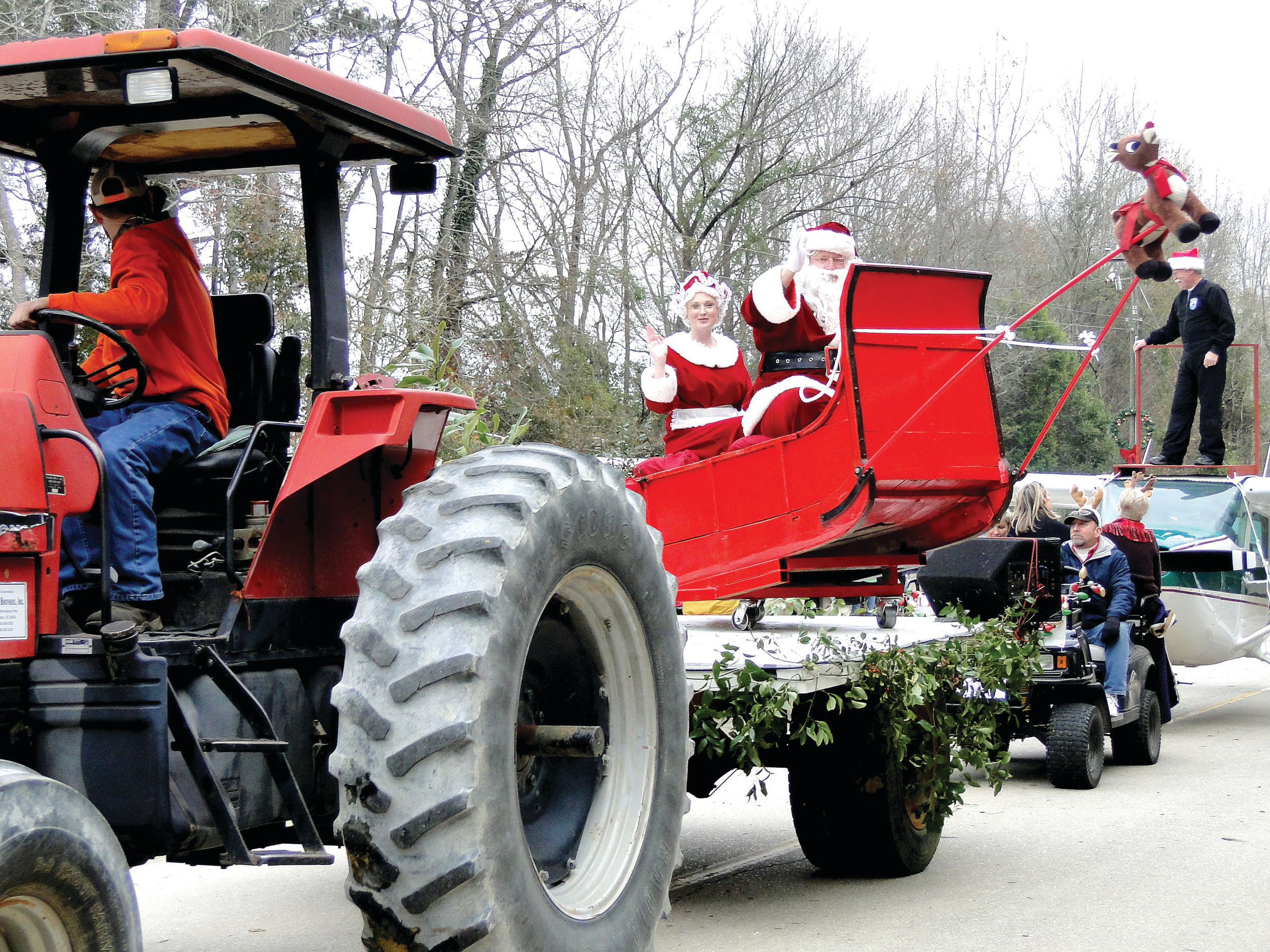 You never know how Santa Claus will arrive at the Boykin Christmas Parade -- it could be on an elephant, in a cast-iron tub or on a sleigh pulled by one tiny reindeer.