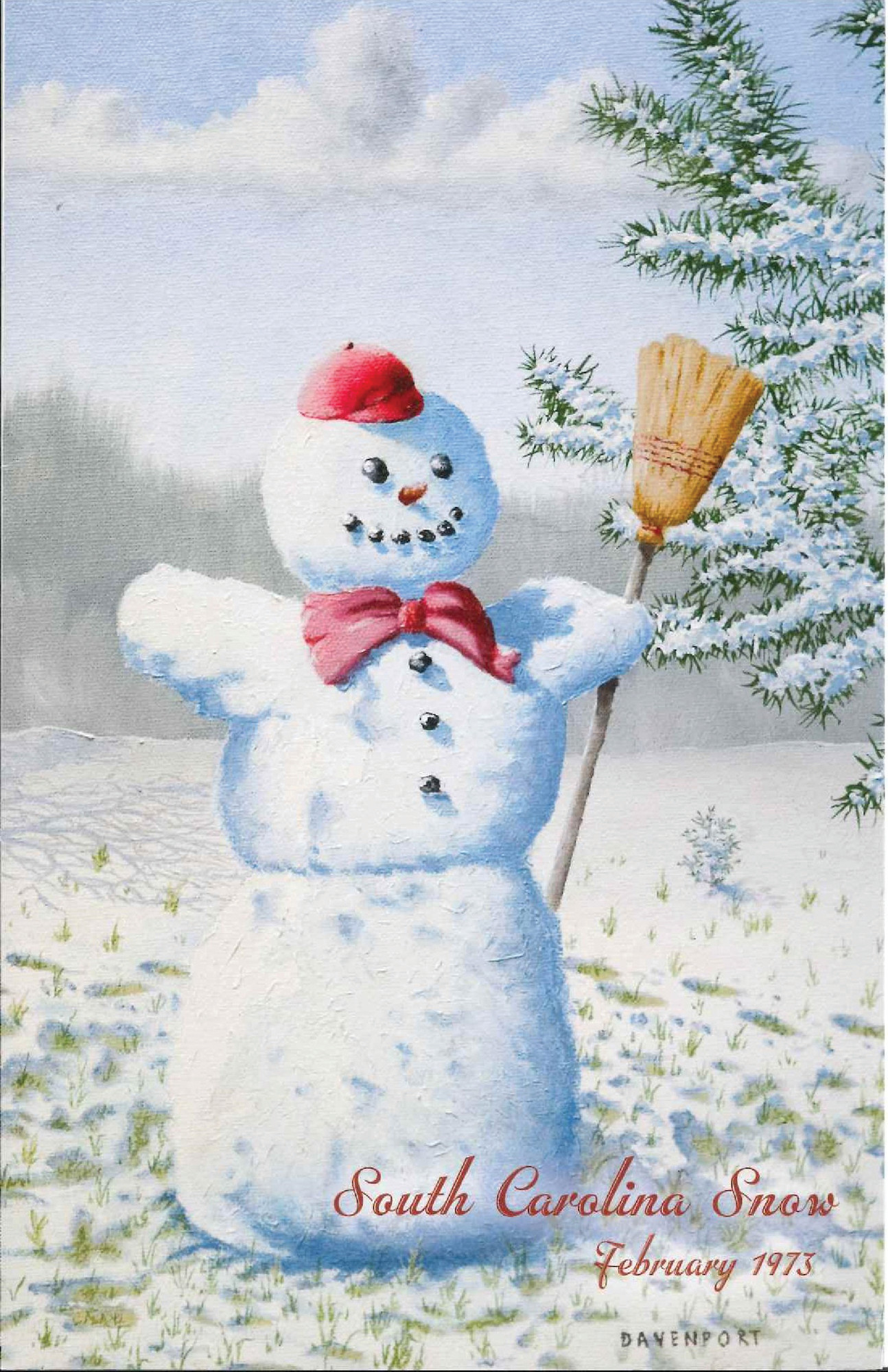 """Snowman,"" a Christmas card illustrated with a painting by the late Ray Davenport, is one of several offered by RSVP, Retired Senior Volunteer Program, to help raise money for home-delivered meals for Sumter's homebound elderly."