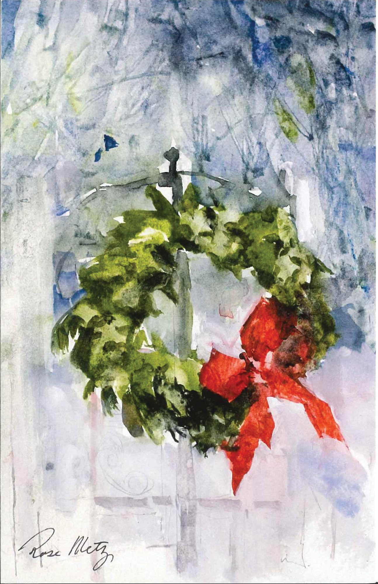 """Wreath"" by the late Rose Metz is the cover for an RSVP Christmas card."