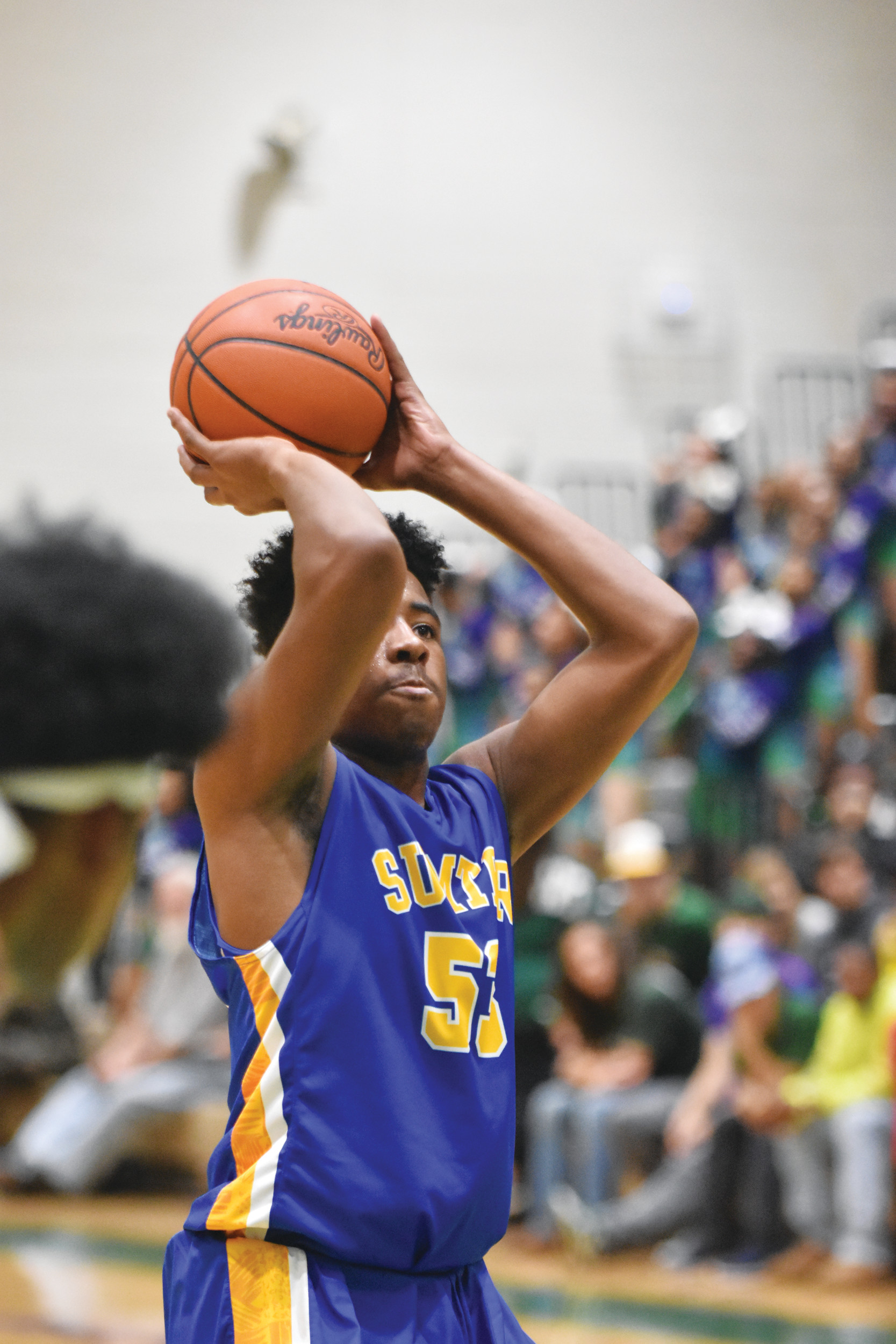 Sumter's Eric Watts shoots a free throw during the third quarter of the Gamecocks' 70-37 victory over Lakewood on Friday at The Swamp.