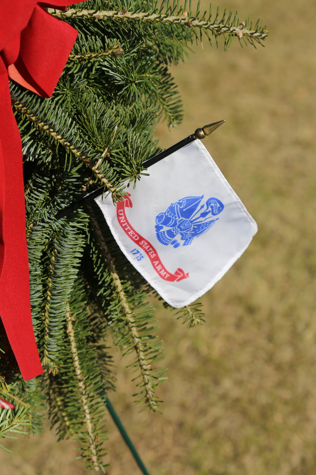 Wreaths representing the various branches of the military were displayed and saluted on Saturday.