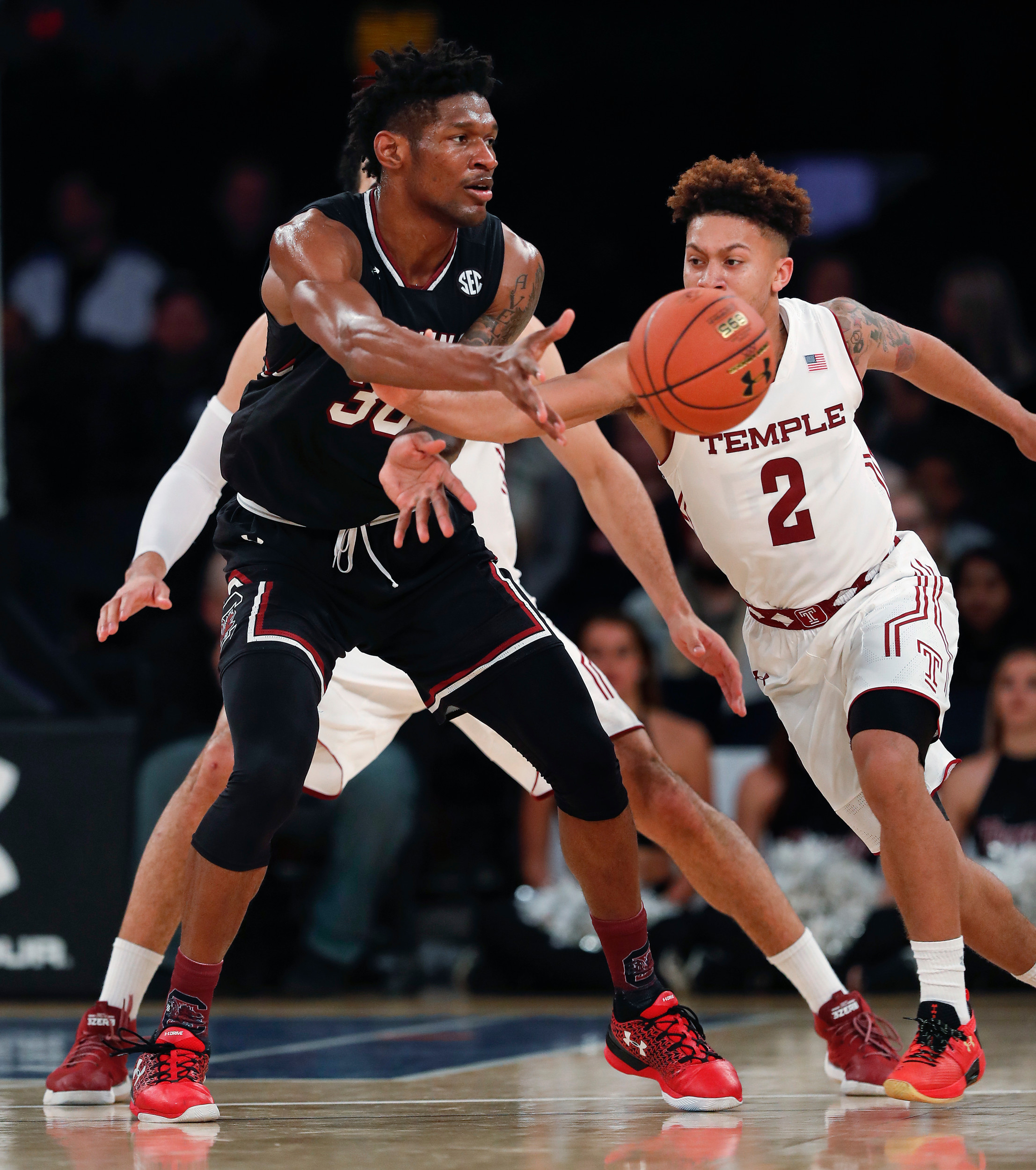 South Carolina forward Chris Silva (30) leads the Gamecocks in both scoring and rebounding. USC plays at Clemson today beginning at 7 p.m. in a game that will be televised on ESPN2.
