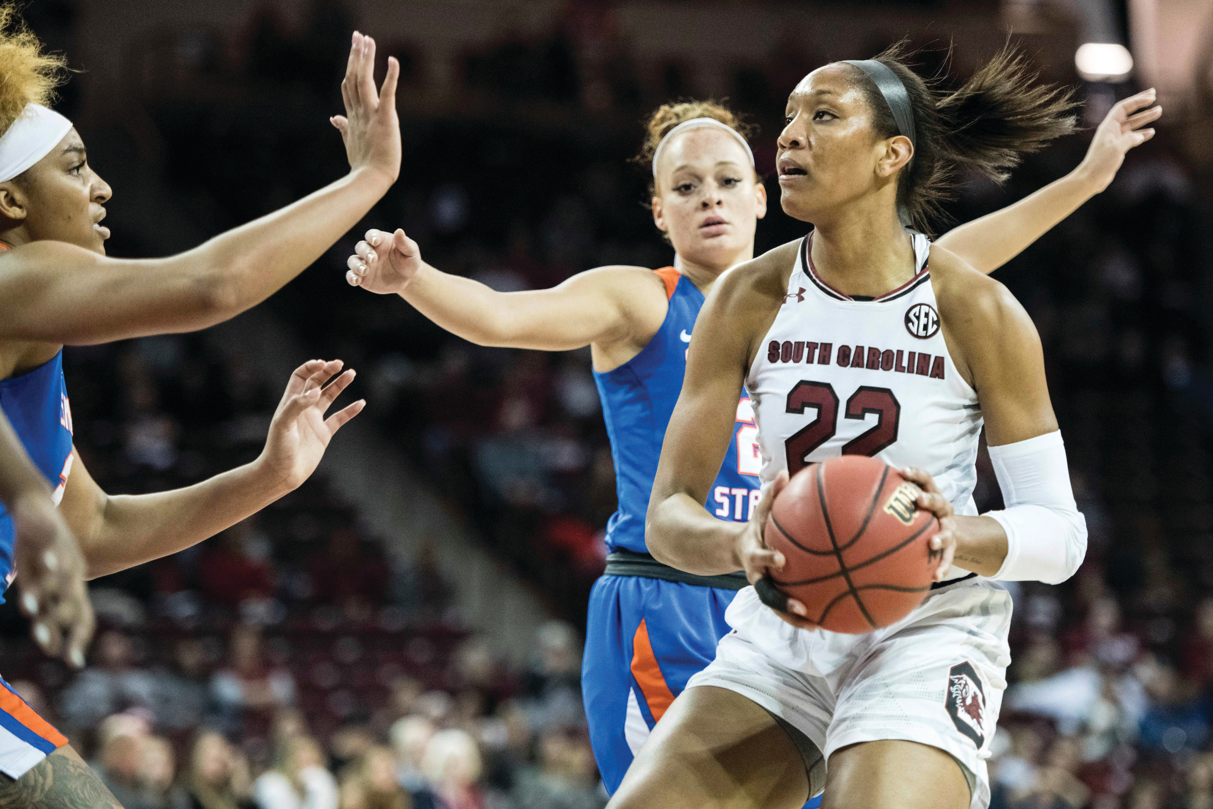 South Carolina's A'ja Wilson (22) drives to the basket against Savannah State's Sabree Gallishaw, left, during the Gamecocks' 99-38 victory on Sunday in Columbia.