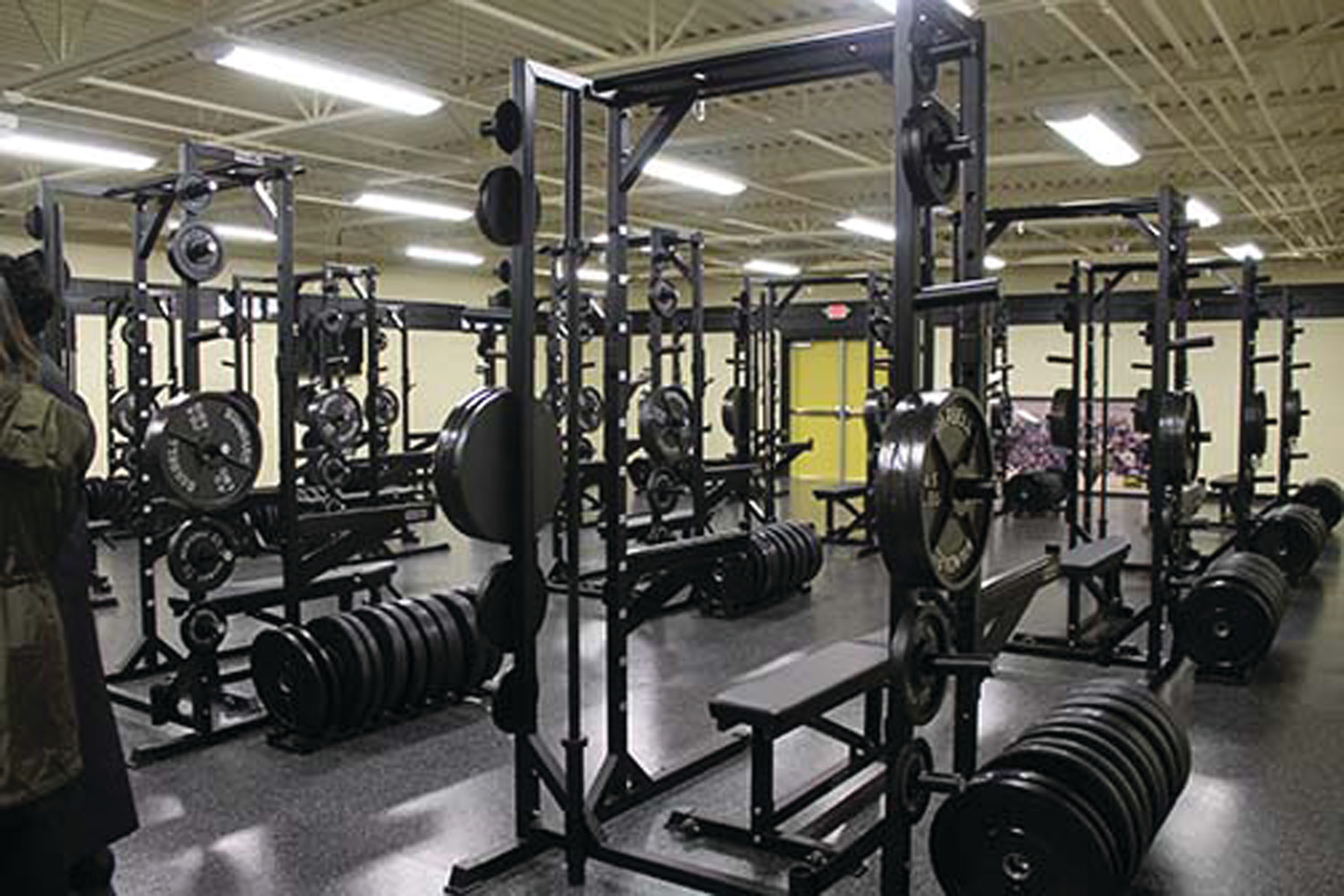 The entire Monarch varsity football team will be able to lift weights at one time in the new weight room at The Monarch Field House, located behind Manning High School and adjacent to Ramsey Field. Before building the field house, the varsity team would need to split up into three groups to lift weights.