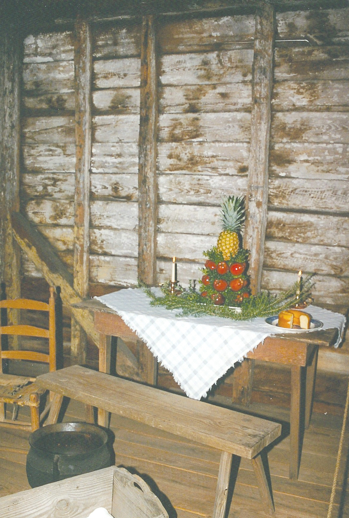 A Christmas table is seen decorated for a past Carolina Backcountry Christmas.