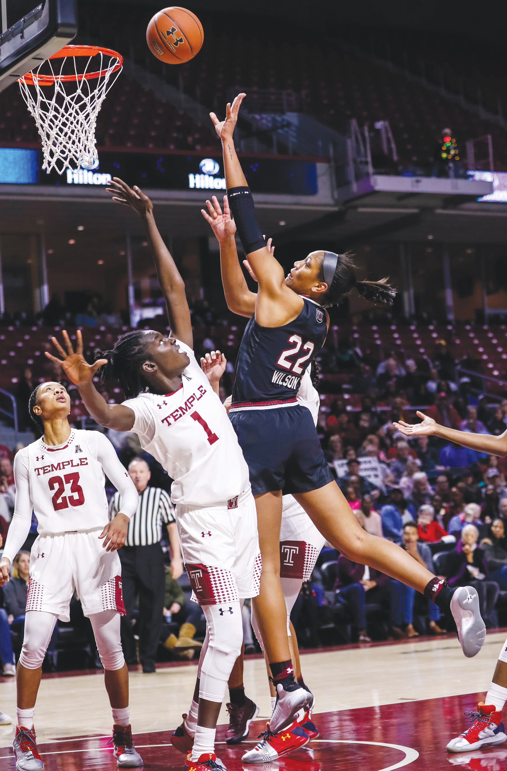 South Carolina's A'ja Wilson (22) puts up a shot over Temple's Lena Niang (1) during the first half of the Gamecocks' 87-60 victory on