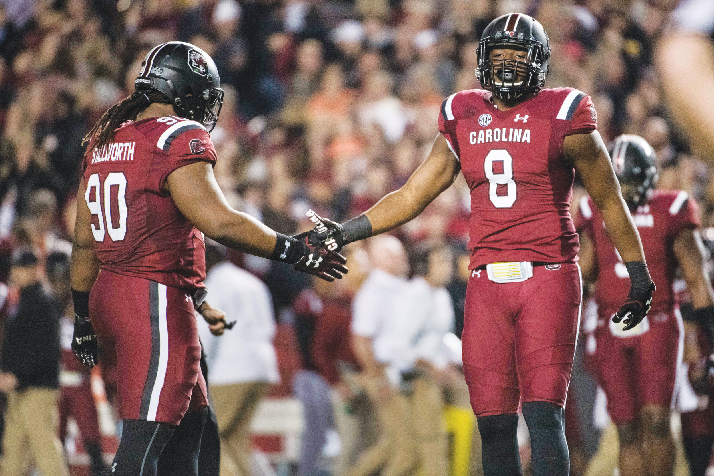South Carolina defensive tackle Taylor Stallworth (90) and defensive end D.J. Wonnum have been leaders on a much improved Gamecock defensive unit. USC is preparing to play Michigan in the Outback Bowl in Tampa, Fla., on Jan. 1.