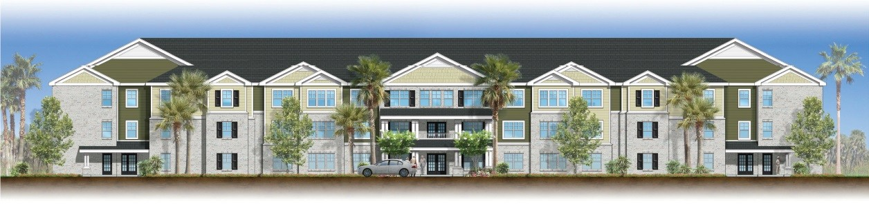 PROVIDED  This rendering shows the proposed three-story senior-living apartment, Evergreen Villas, on North Wise Drive.
