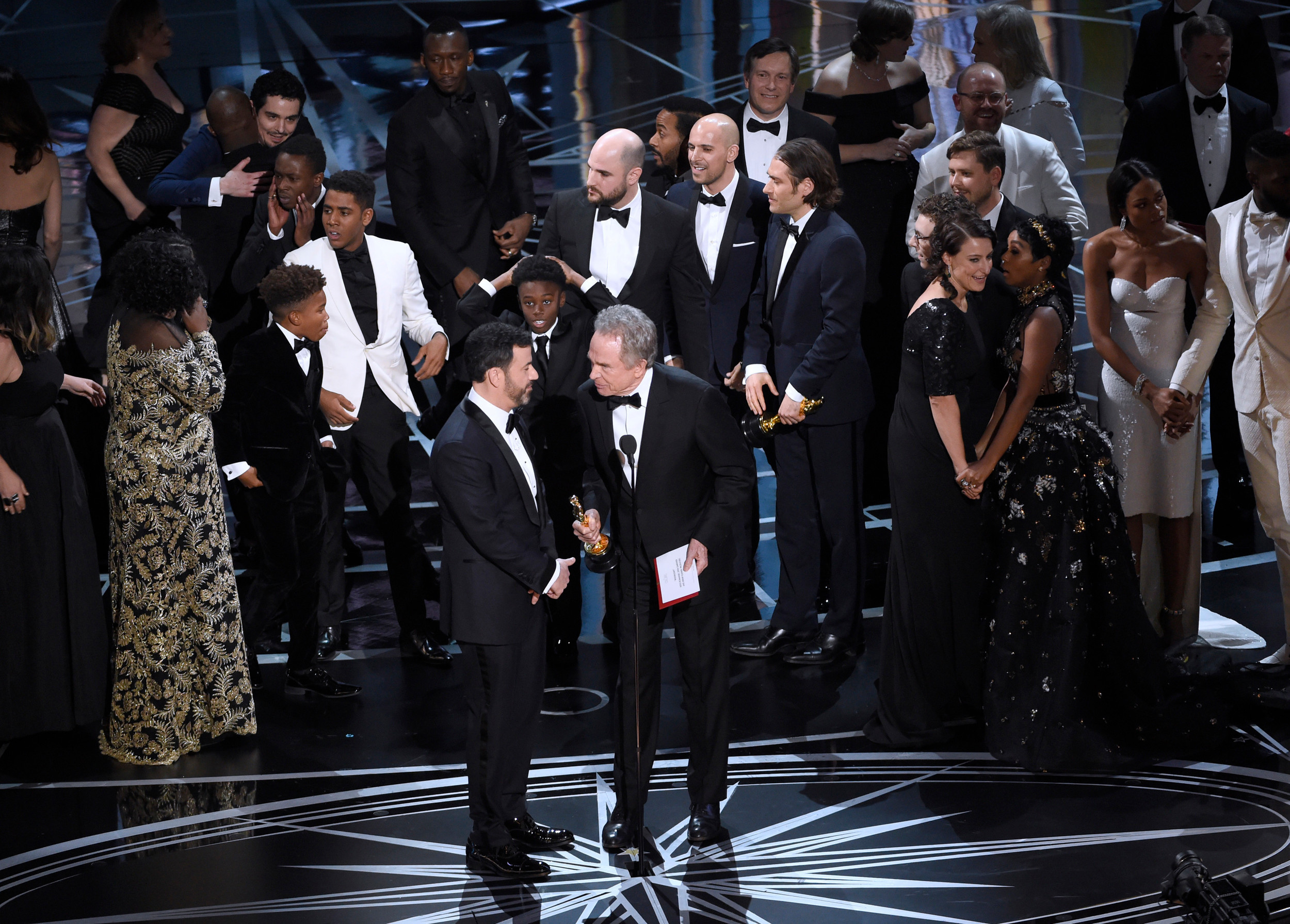 In this Feb. 26, 2017 file photo, host Jimmy Kimmel, left, and presenter Warren Beatty discuss the results of best picture on stage at the Oscars in Los Angeles. The winner had been incorrectly announced.
