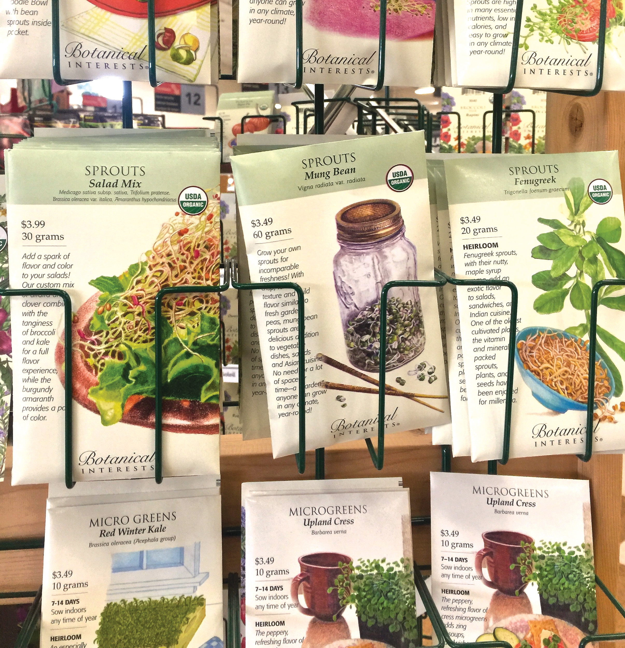 Seed packets are seen at a hardware store in Freeland, Washington, on Nov. 17. The packs are great reference tools.