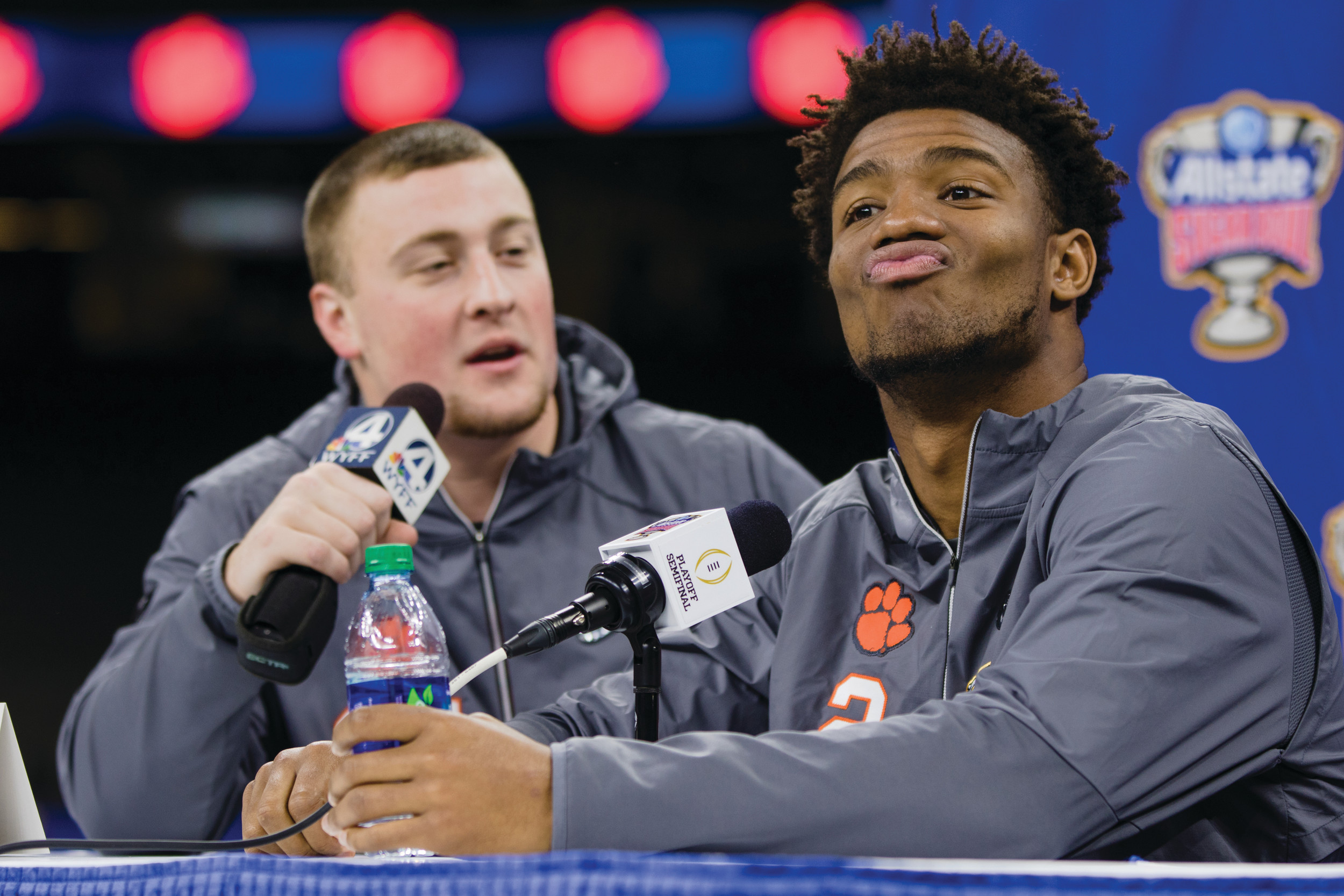 Clemson quarterback Kelly Bryant reacts at Saturday's press conference for the College Football Playoff Sugar Bowl, where the Tigers will face off against Alabama for a spot in the national championship game on Monday.