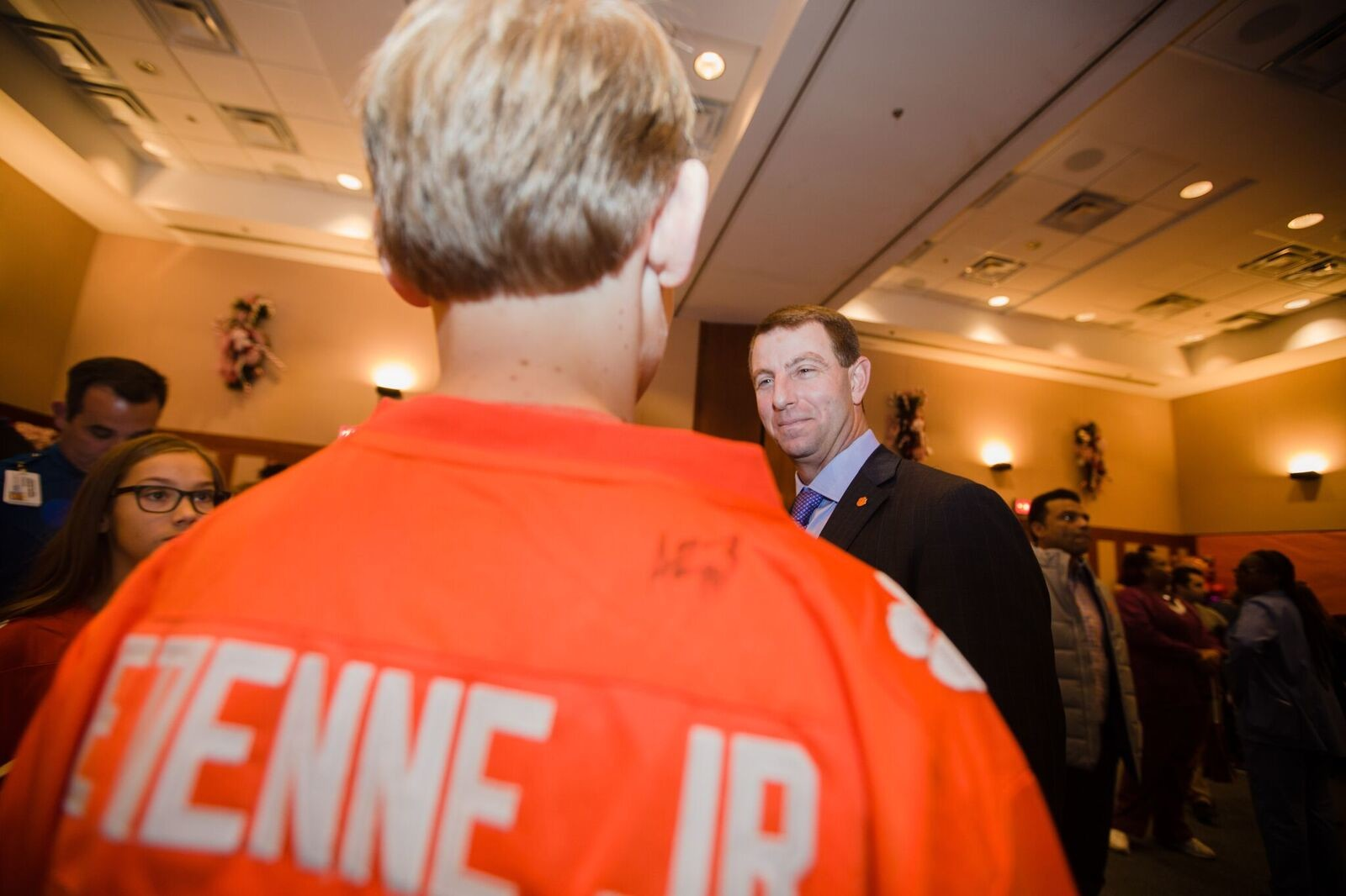 Clemson head coach Dabo Swinney interacts with attendees at a part thrown for the team and patients at Ochsner Baptist Children's Hospital in New Orleans on Saturday.