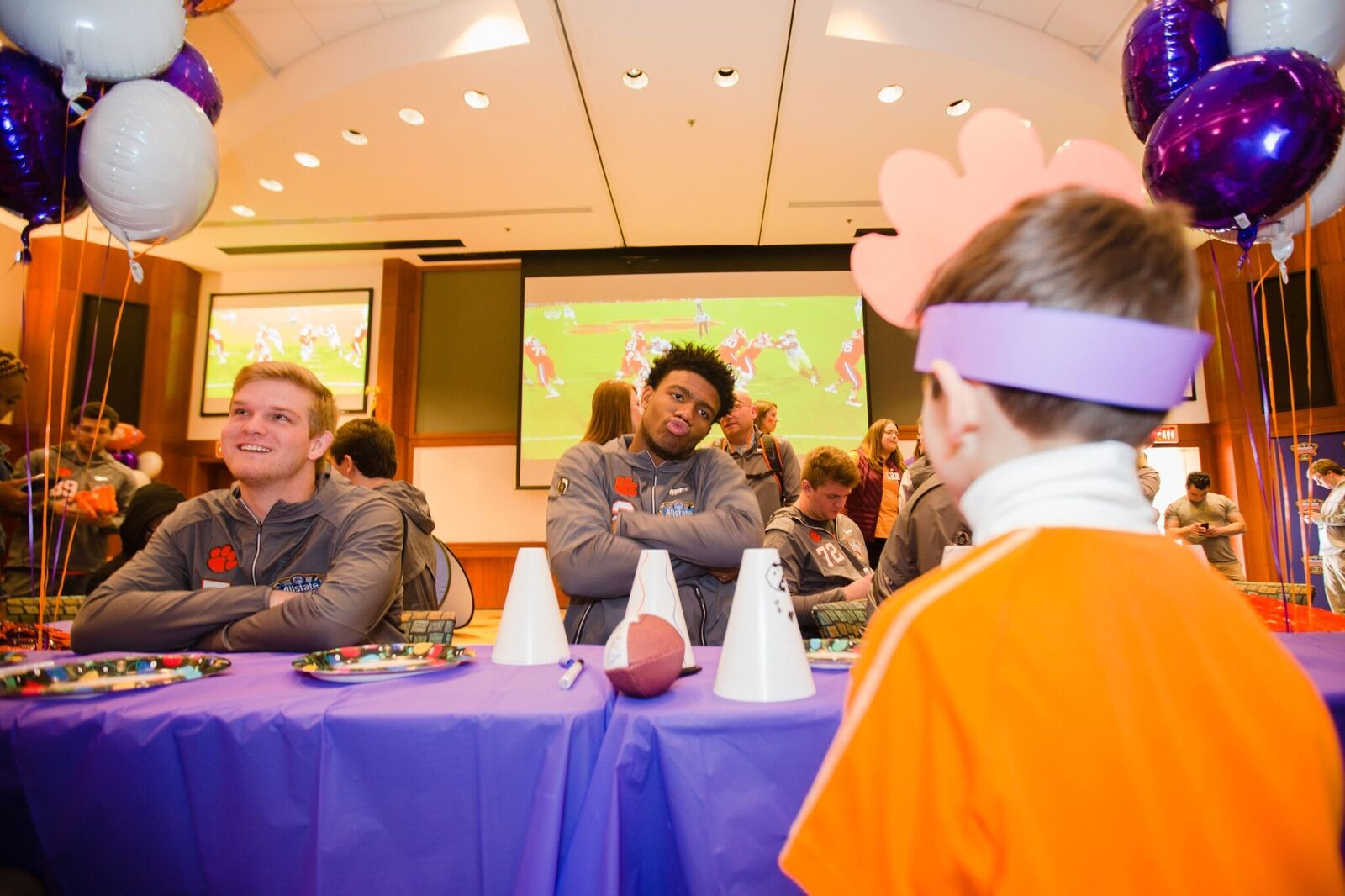 Clemson quarterback Kelly Bryant meeting patients at Ochsner Baptist Children's Hospital on Saturday in New Orleans.