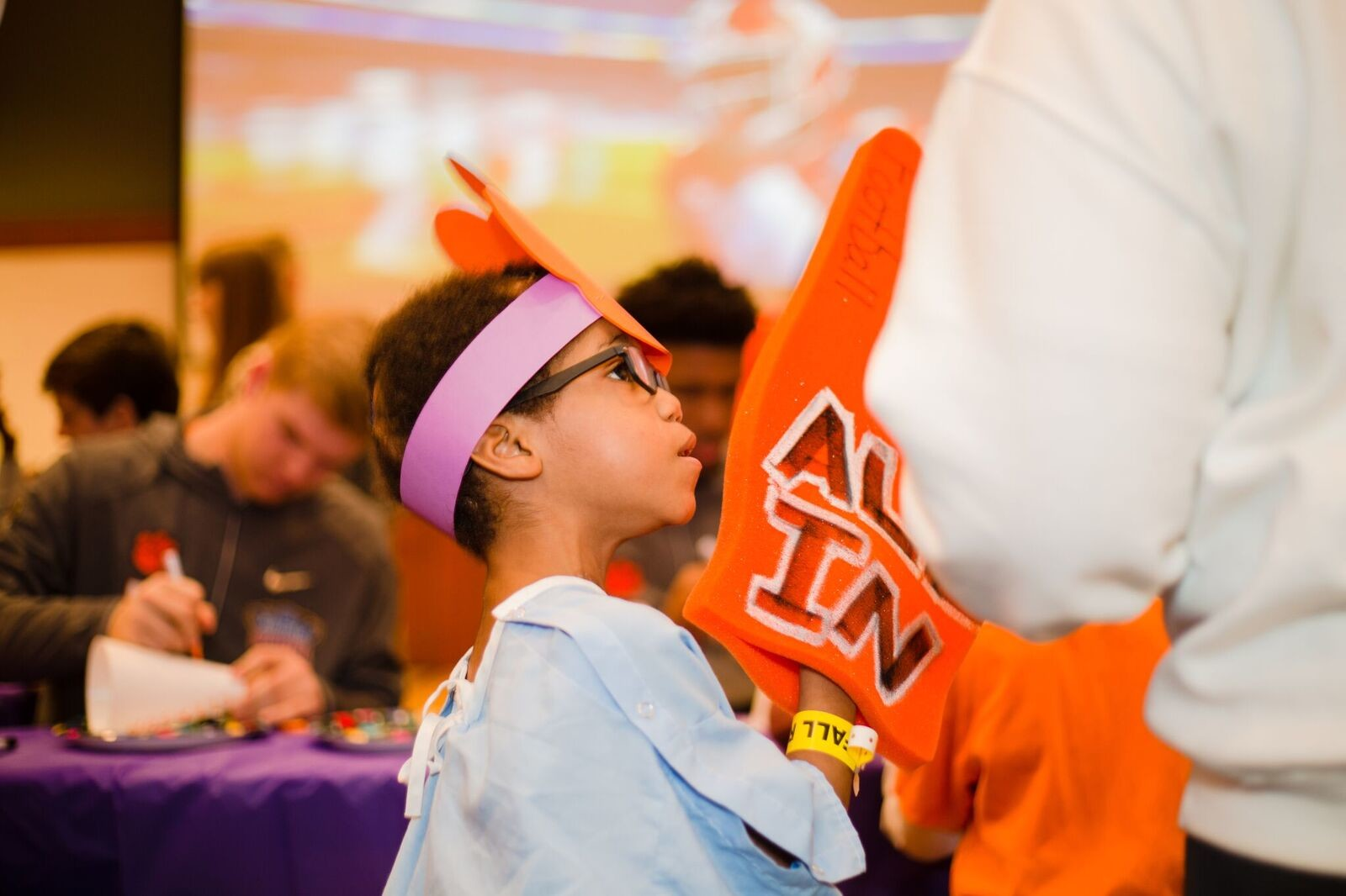 Scenes from the Clemson football team visiting patients at Ochsner Baptist Children's Hospital on Saturday in New Orleans. The visit was part of a schedule of appearances for the team leading up to Monday's playoff game against Alabama for a chance to go to the national championship game.