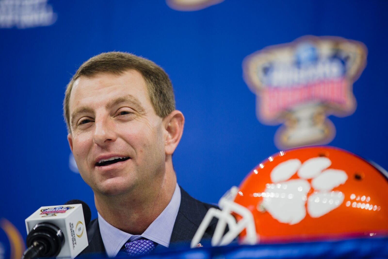 Clemson head coach Dabo Swinney at Saturday's press conference for the College Football Playoff Sugar Bowl against Alabama.