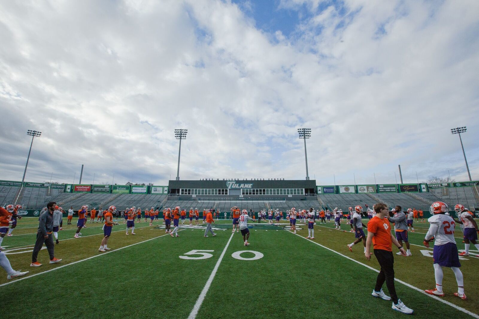 The Clemson football team practices on Saturday at Tulane University in preparation for Monday's Sugar Bowl. The defending national champion Tigers will face Alabama for the third straight year, this time in a national semifinal.