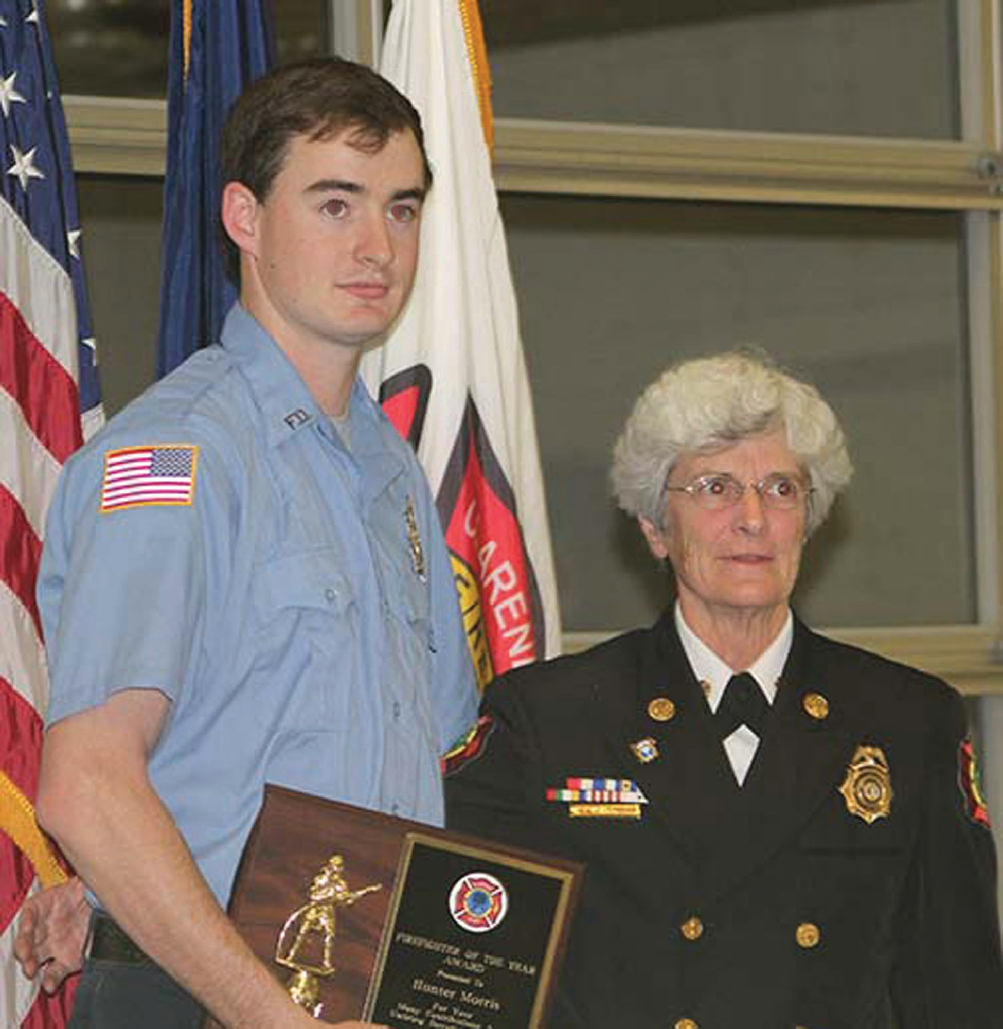 Hunter Morris was presented Clarendon County Fire Department's 2017 Firefighter of the Year award at the department's recent awards/Christmas dinner.